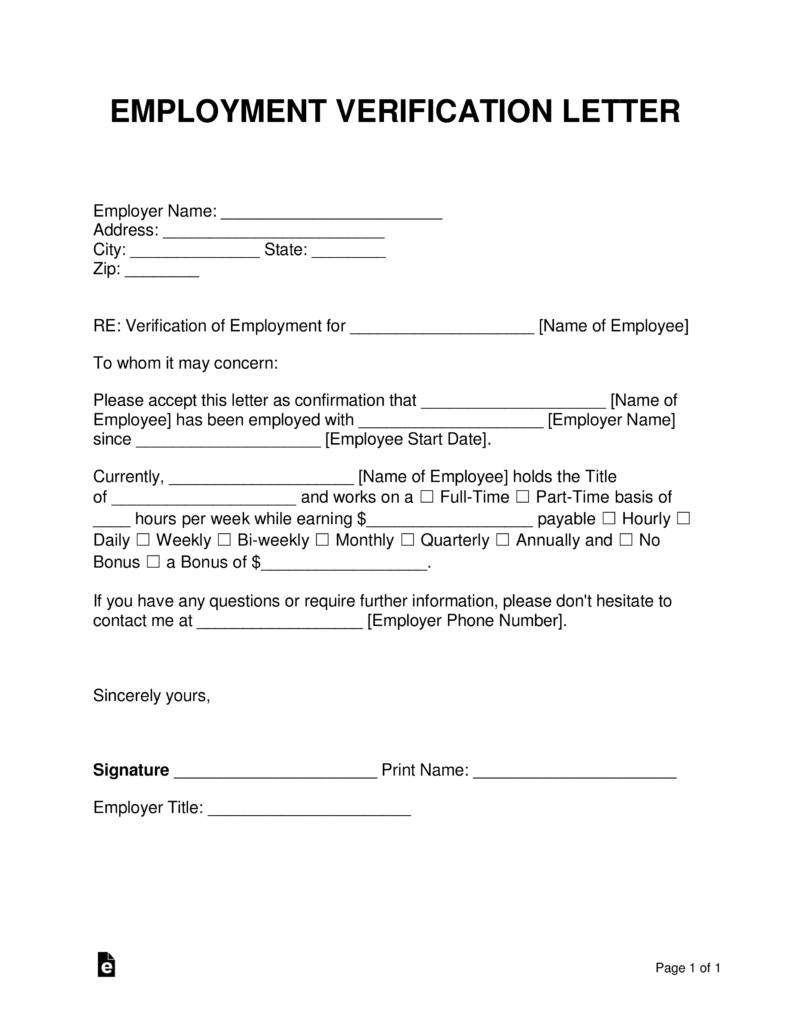 Free Employment (Income) Verification Letter - Pdf | Word