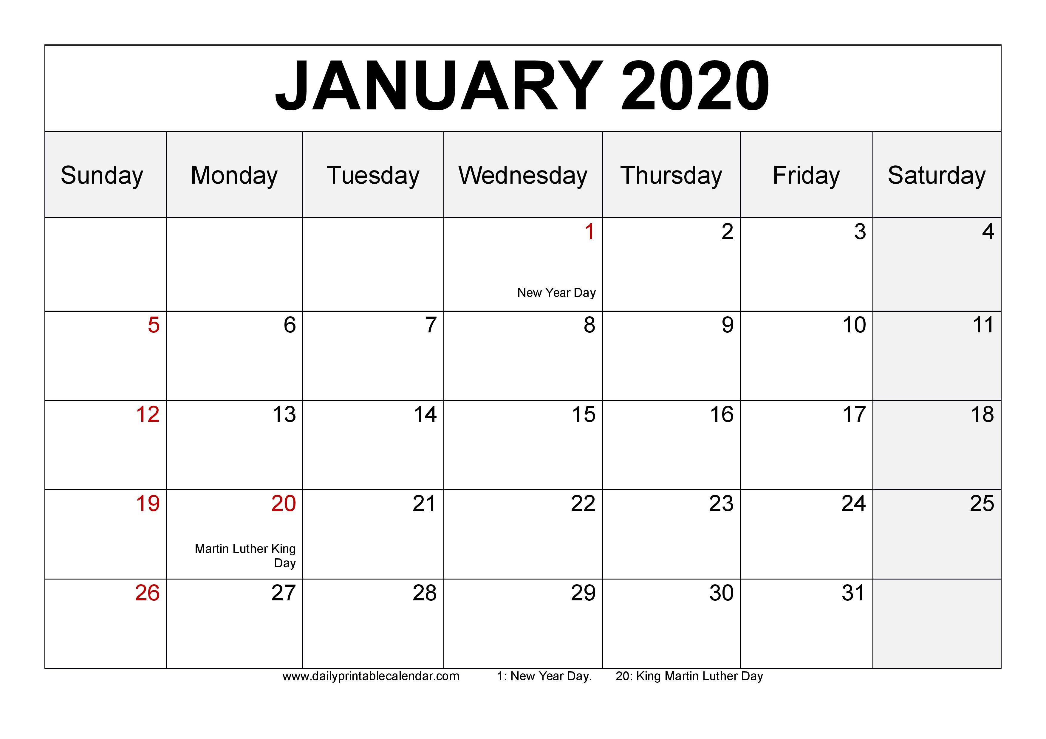 Free January 2020 Calendar Printable [Monthly Templates