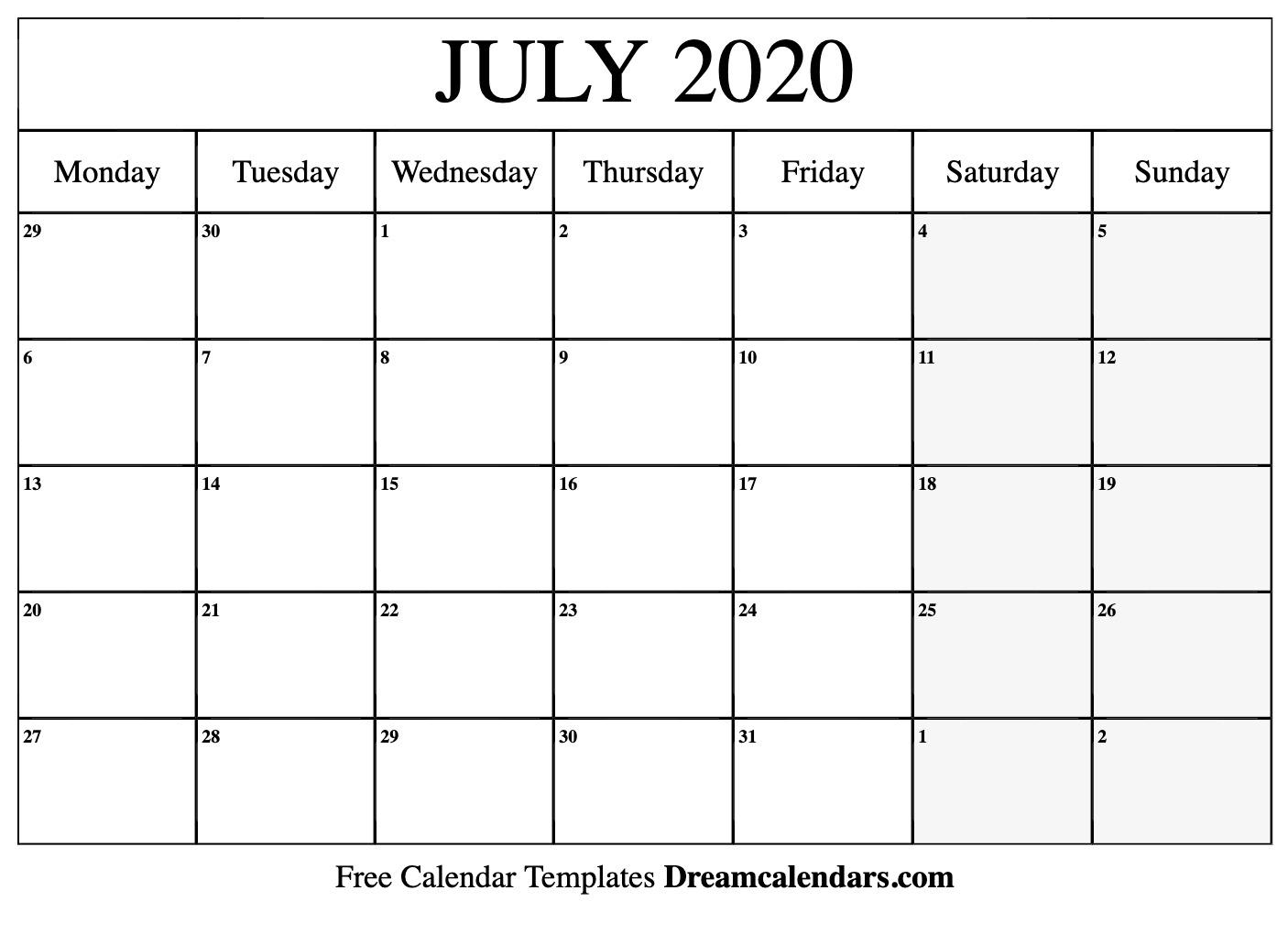 Free July 2020 Printable Calendar | Dream Calendars-Blank
