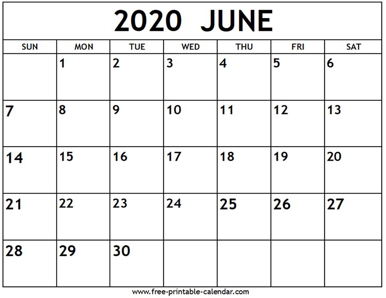 Free June 2020 Calendar - Tunu.redmini.co