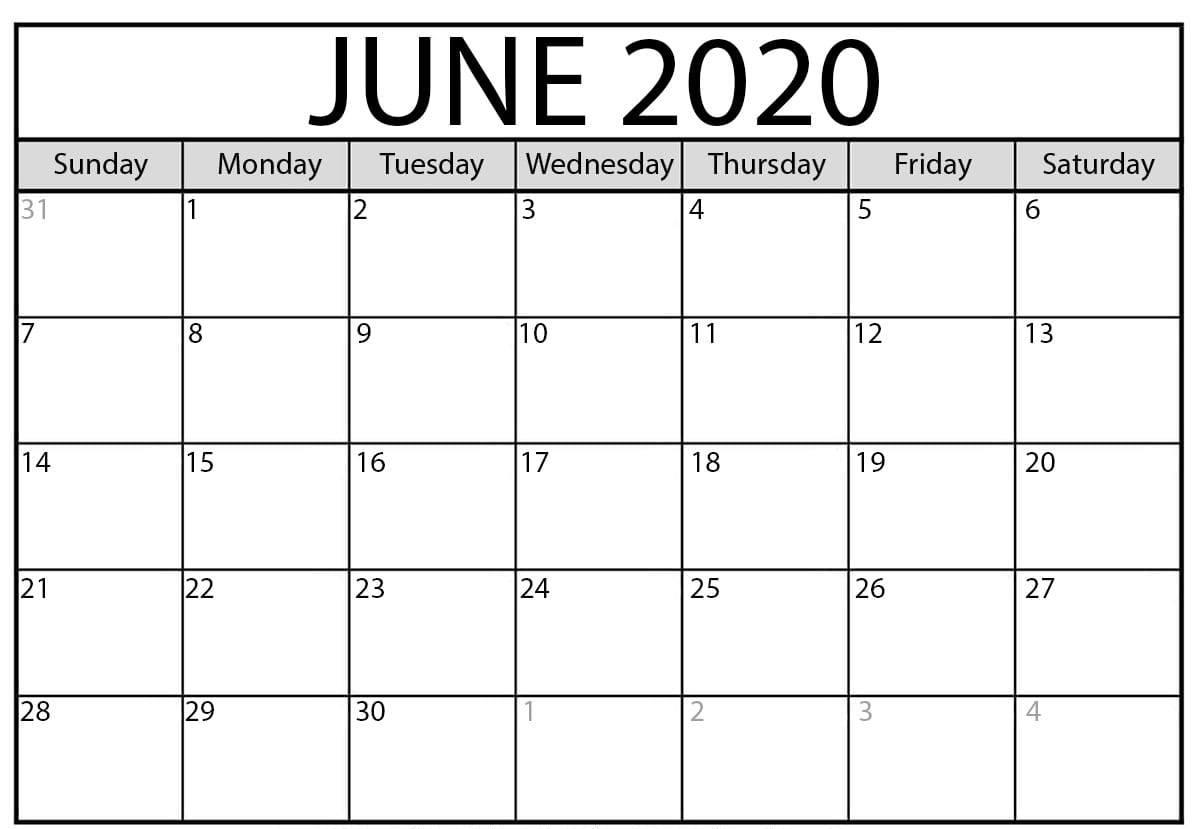Free June Calendar 2020 Printable Blank Editable Template