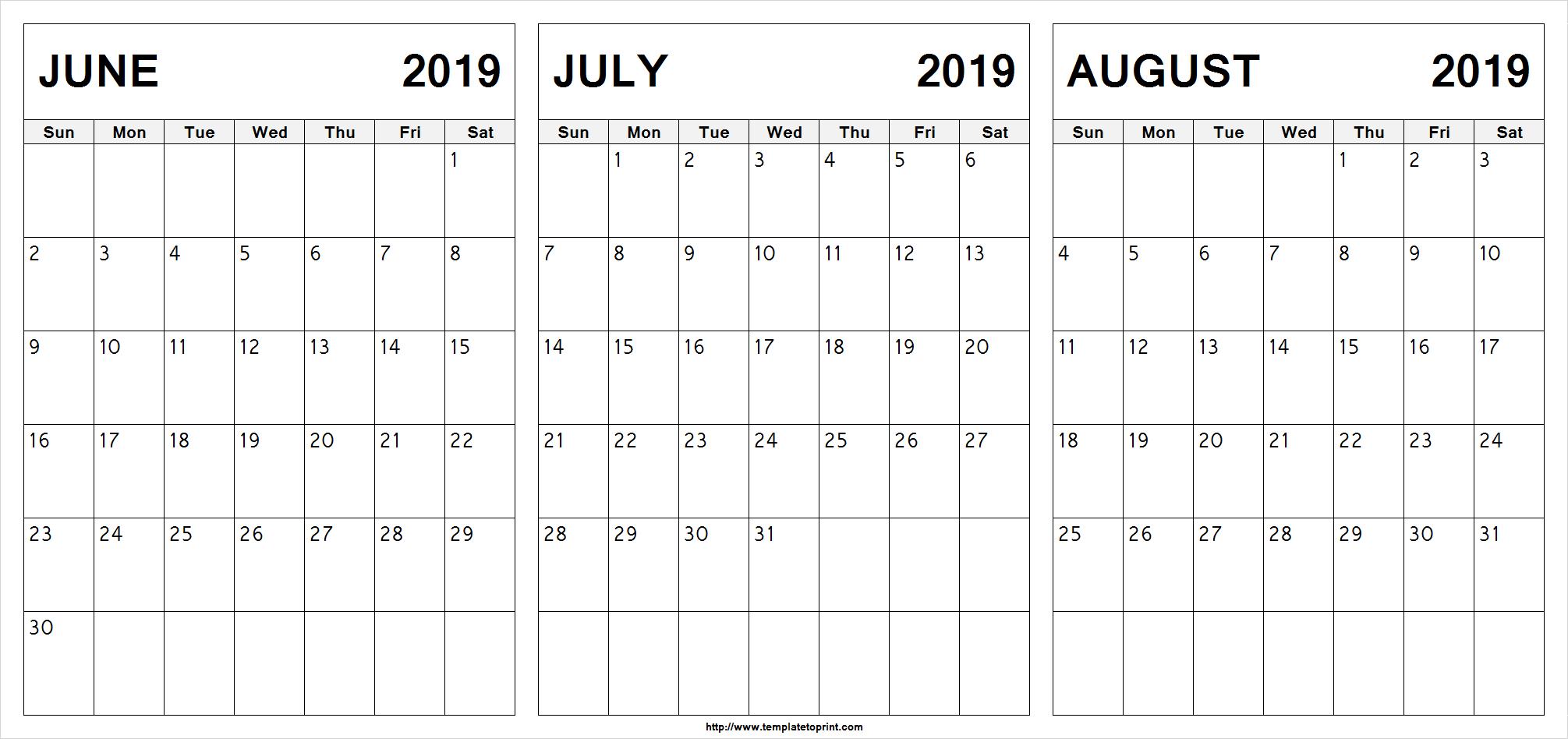 Free June July August 2019 Calendar (3 Months) Printable