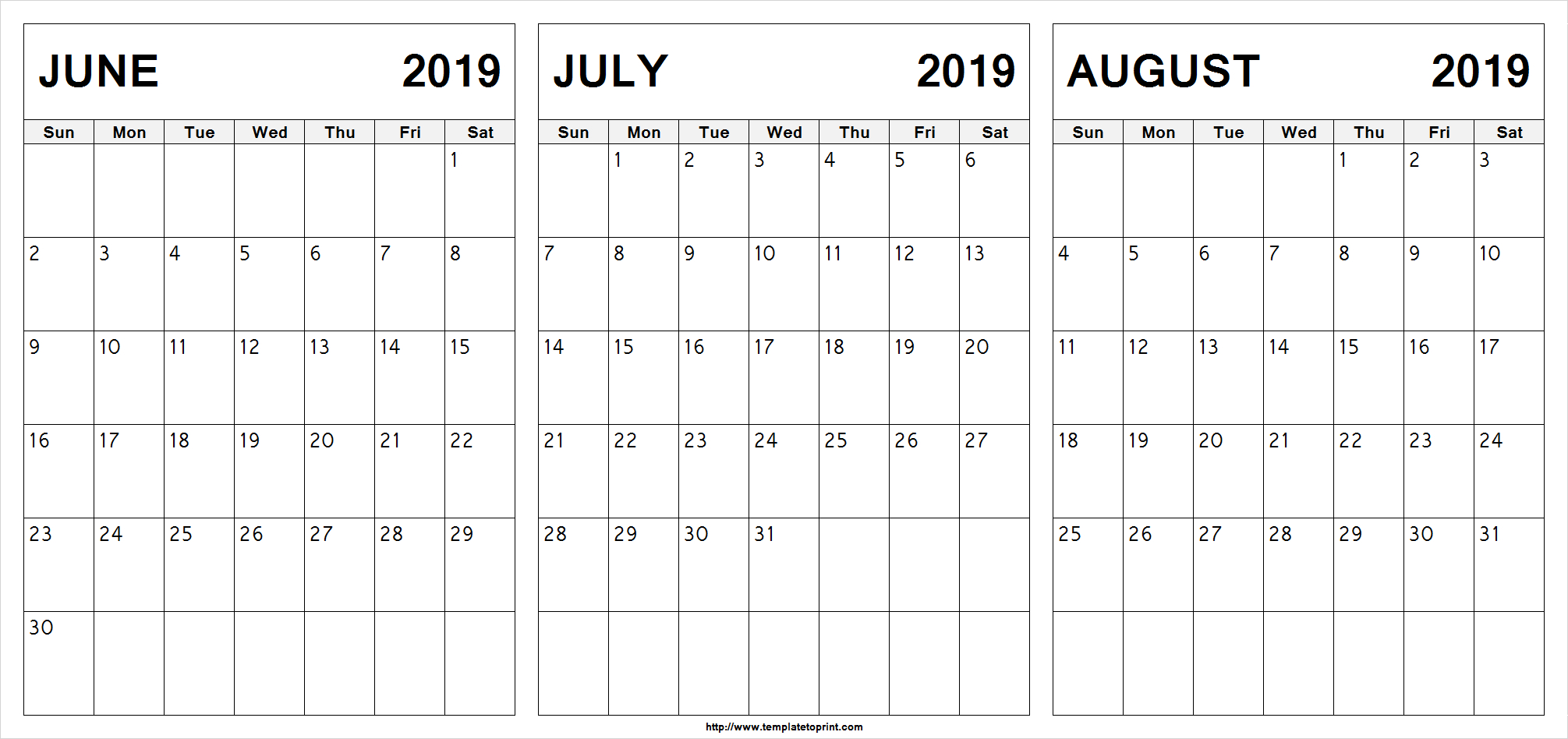 Free June July August 2019 Calendar (3 Months) Printable