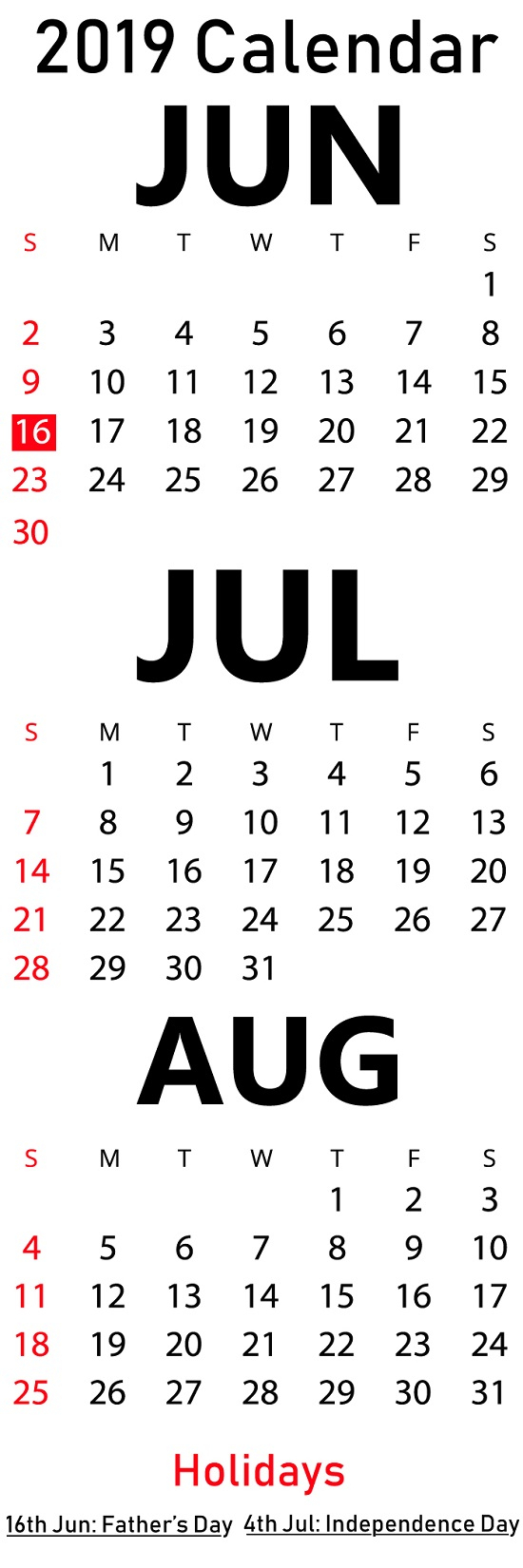 Free June & July & August 2019 Printable Calendar Templates