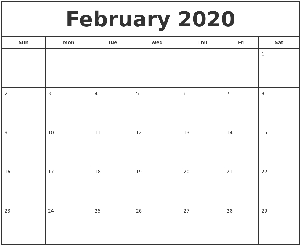 Free Monthly February Calendar 2020 Printable Template