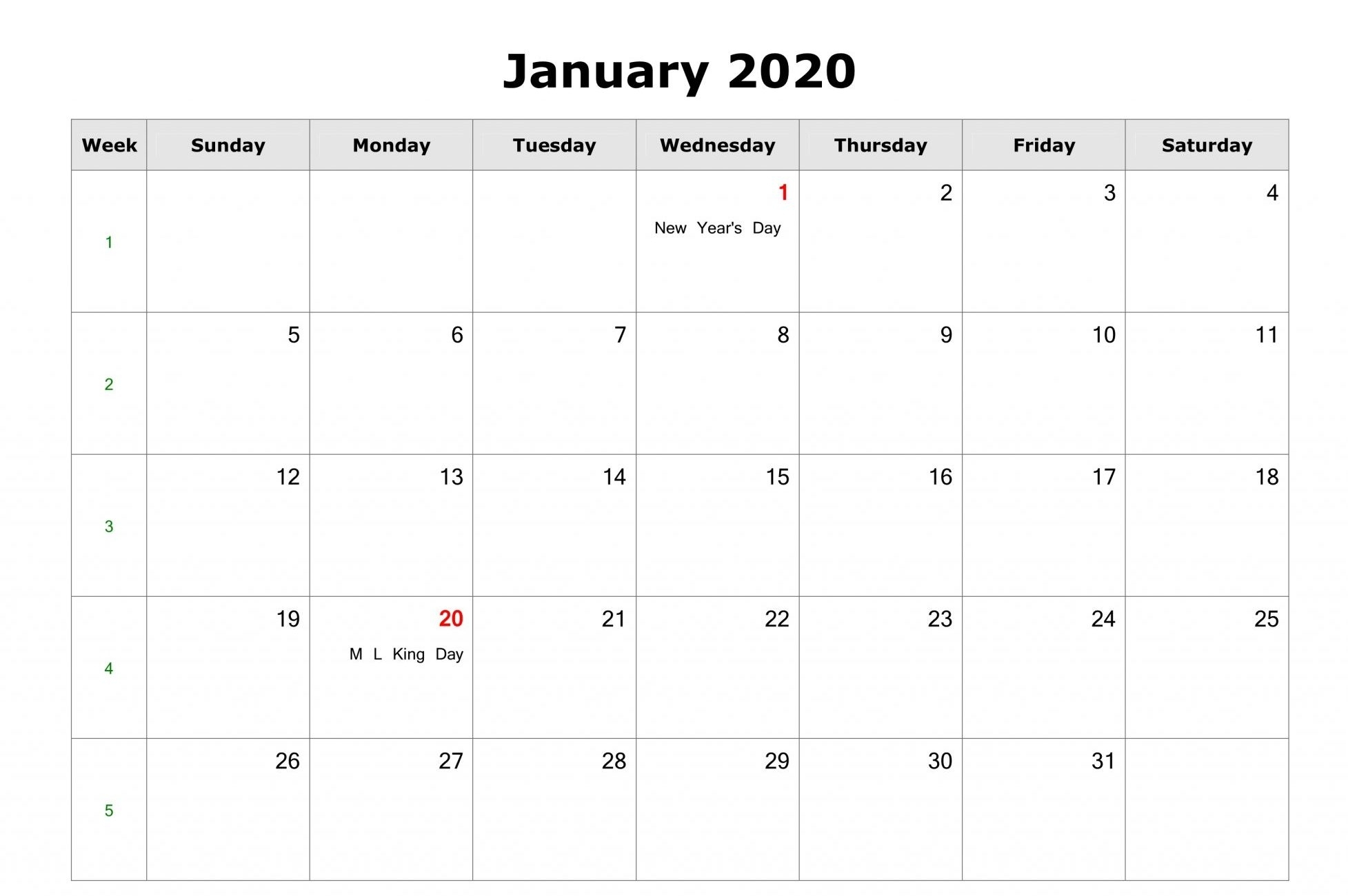 Free} Monthly January 2020 Calendar Pdf Word Excel Page-Free