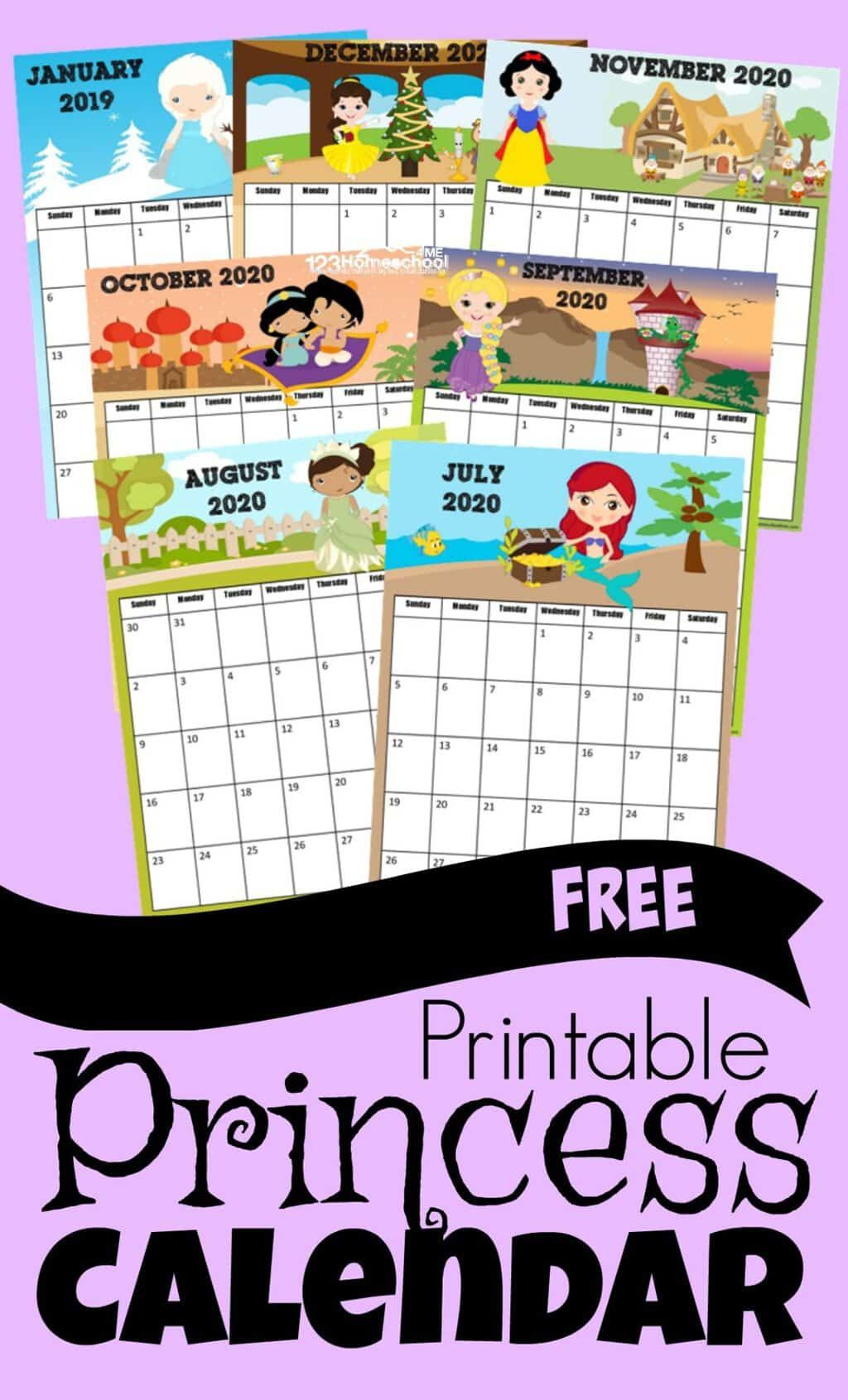 Free Princess Calendar 2019-2020 | Www.123Homeschool4Me