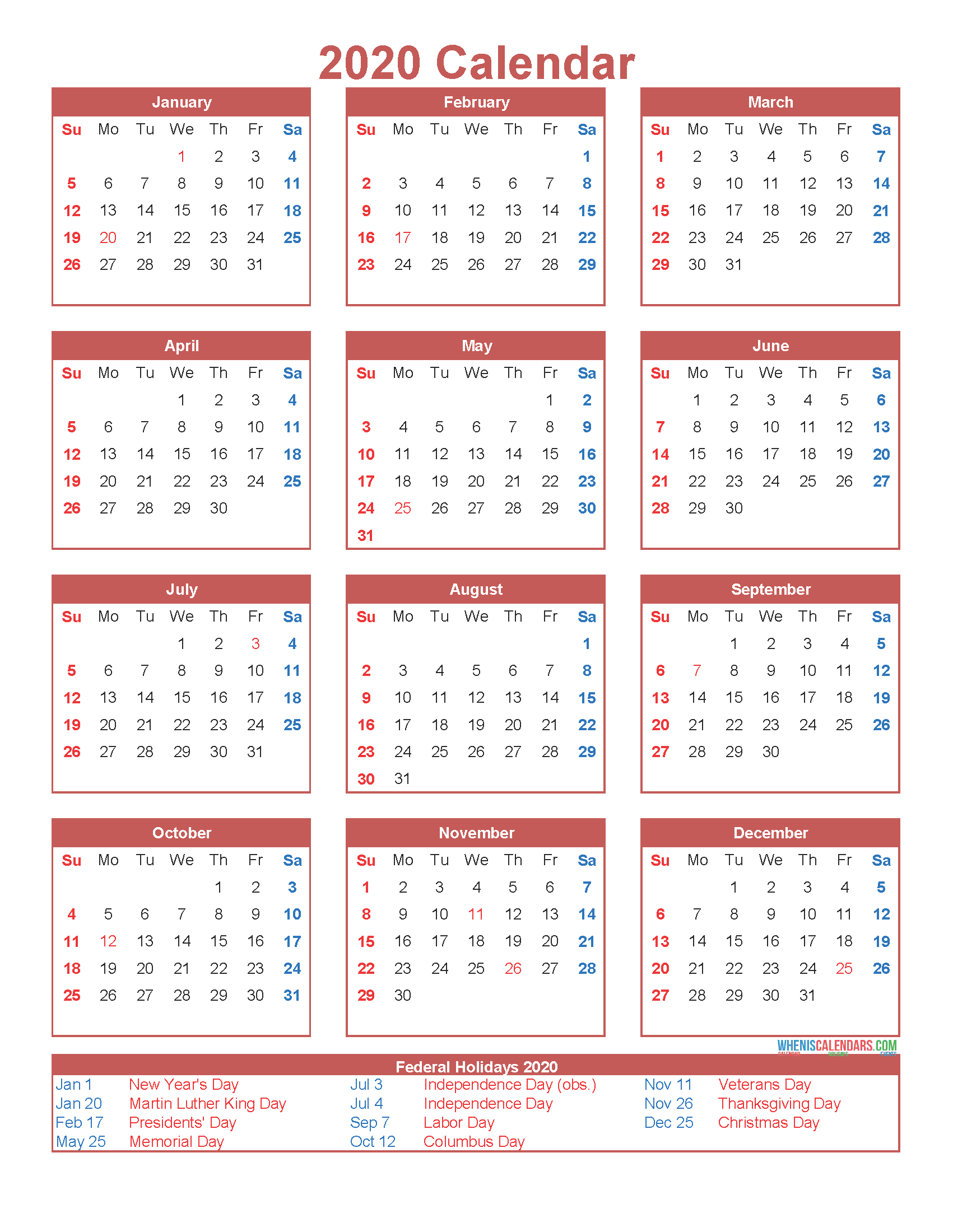 Free Printable 12 Month Calendar On One Page 2020 | Free