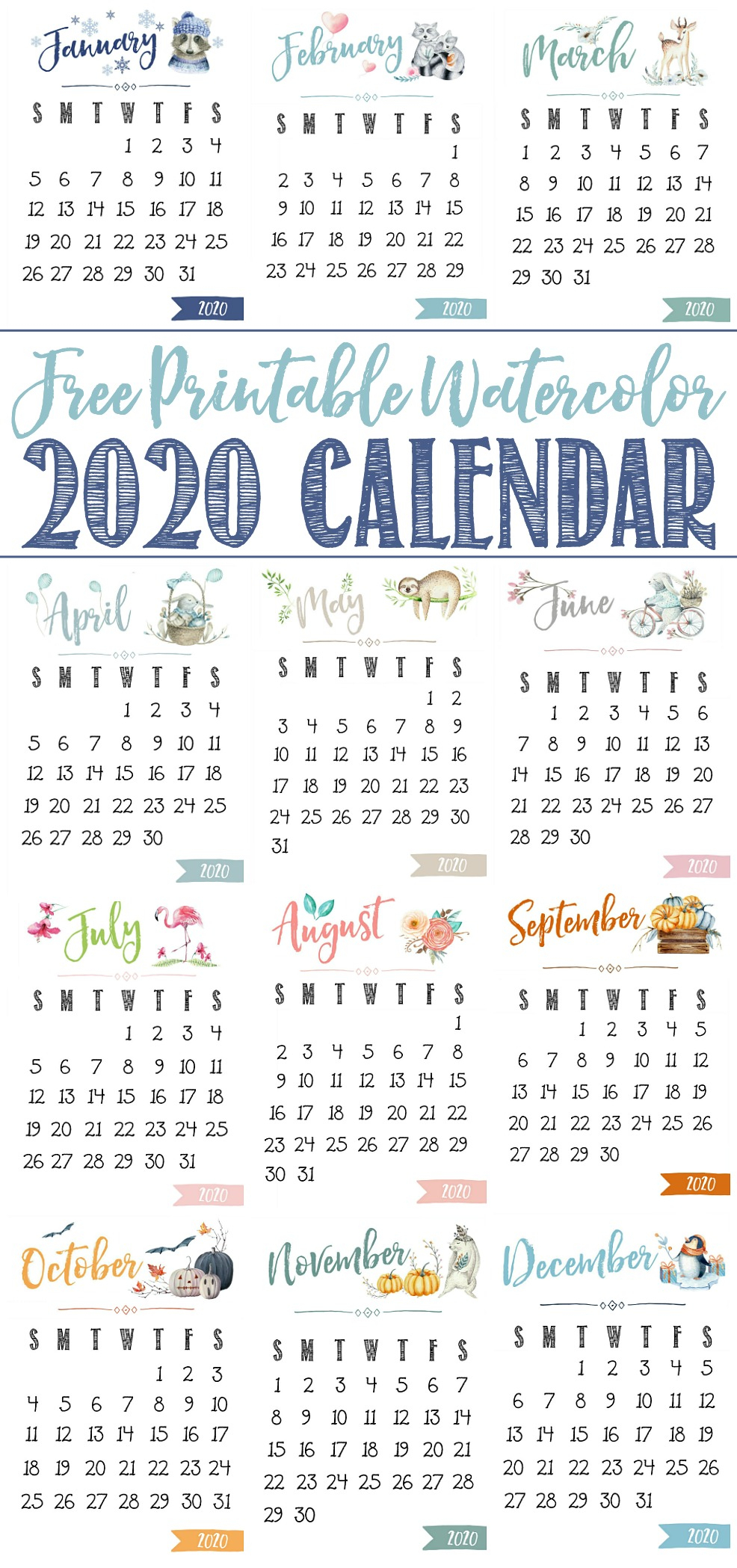 Free Printable 2020 Calendar - Clean And Scentsible