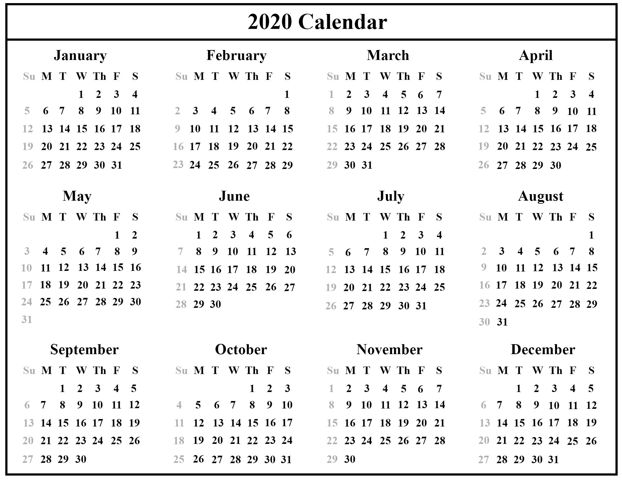 Free Printable 2020 Calendar – One Page Template | 12 Month