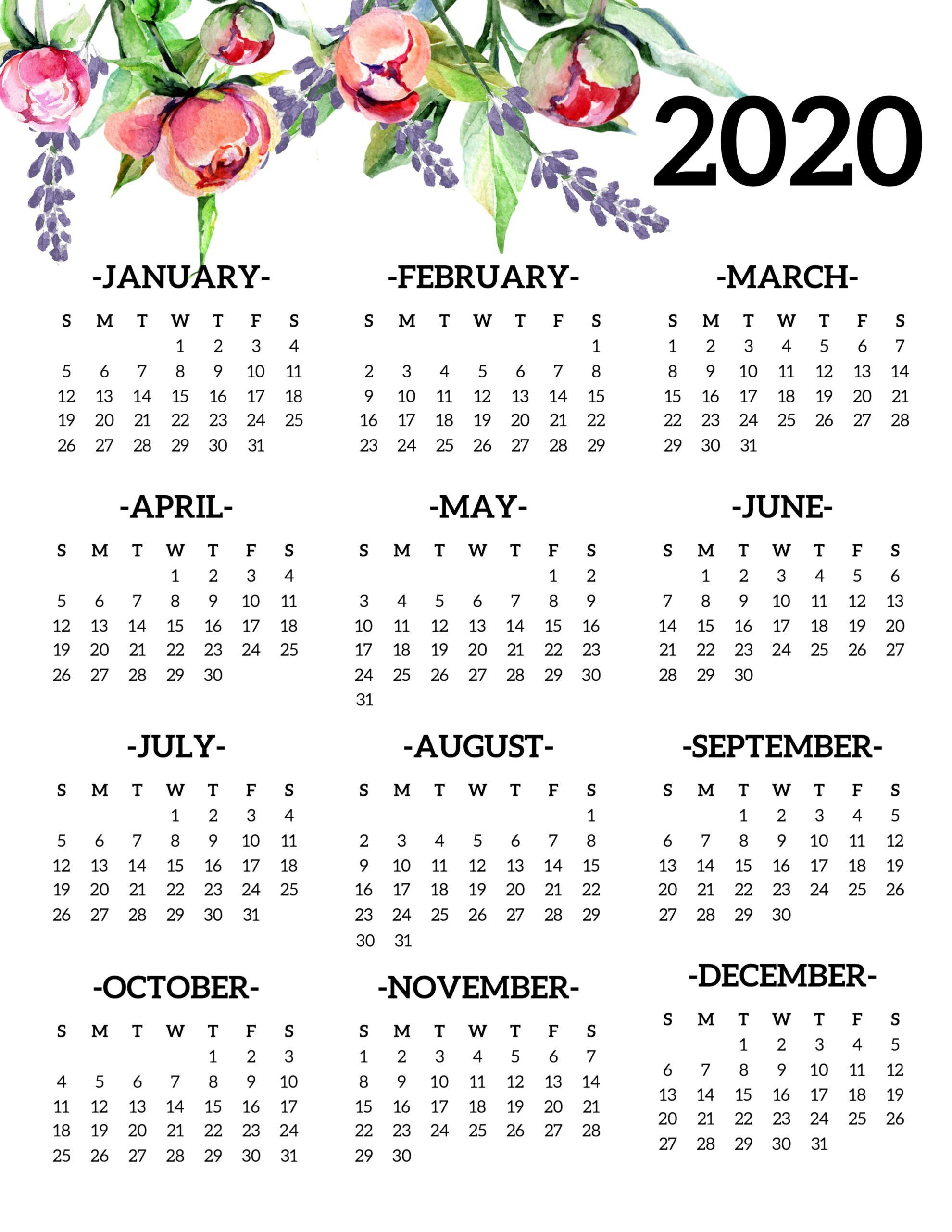 Free Printable 2020 Calendar Yearly E Page Floral 2020