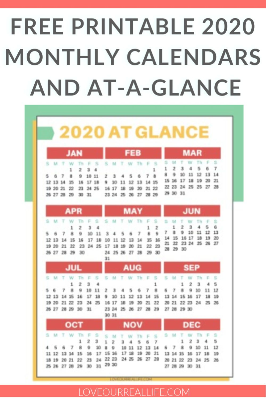 Free Printable 2020 Calendars | Organization & Productivity