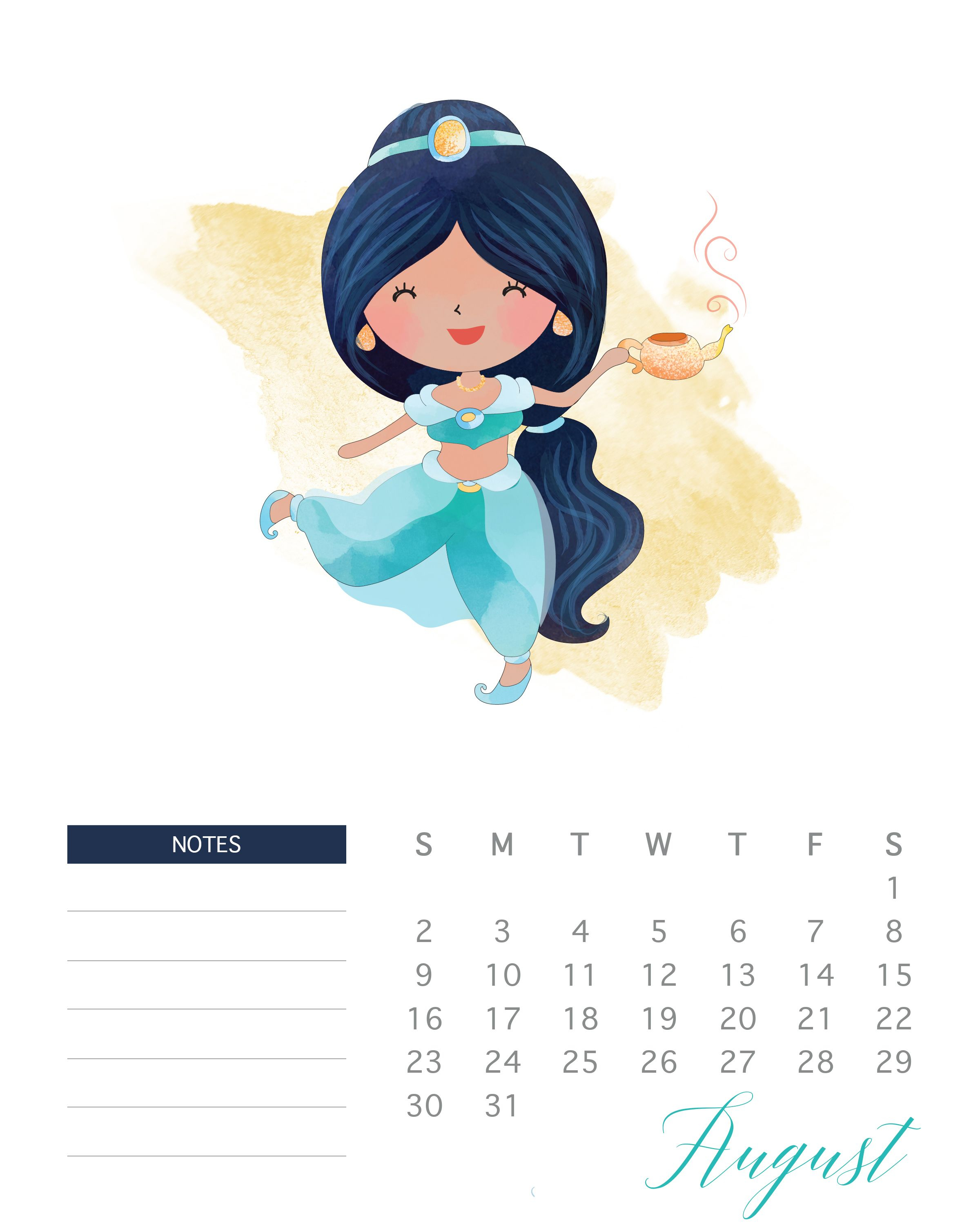 Free Printable 2020 Watercolor Princess Calendar | Free