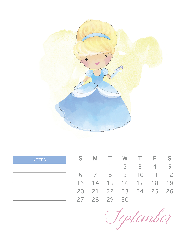 Free Printable 2020 Watercolor Princess Calendar - The