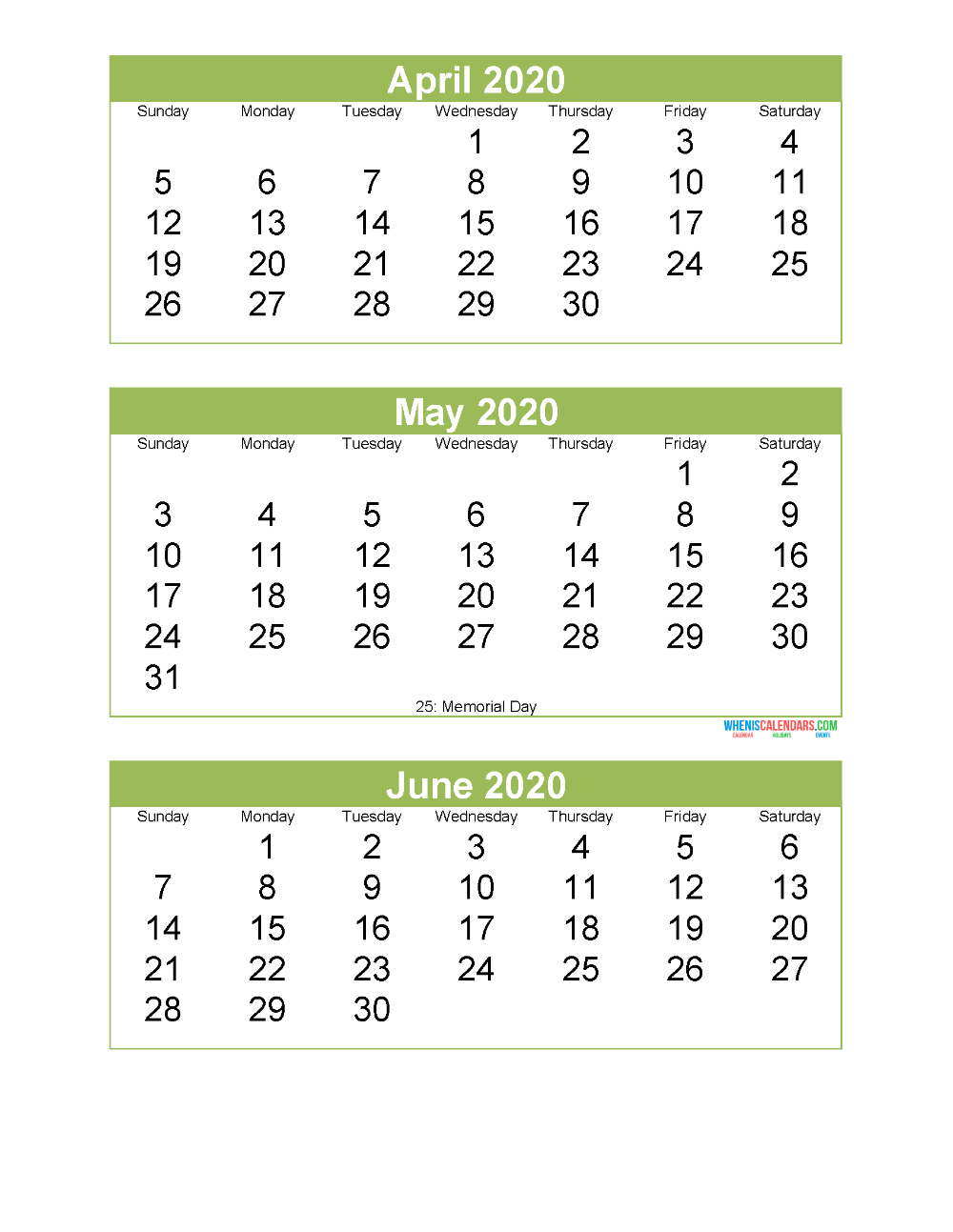 Free Printable 3 Month Calendar 2020 April May June | Free