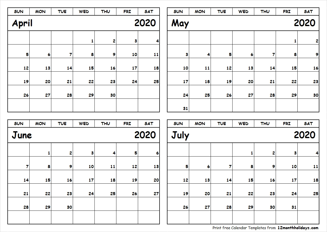 Free Printable 4 Month Calendars 2020 | Monthly Printable