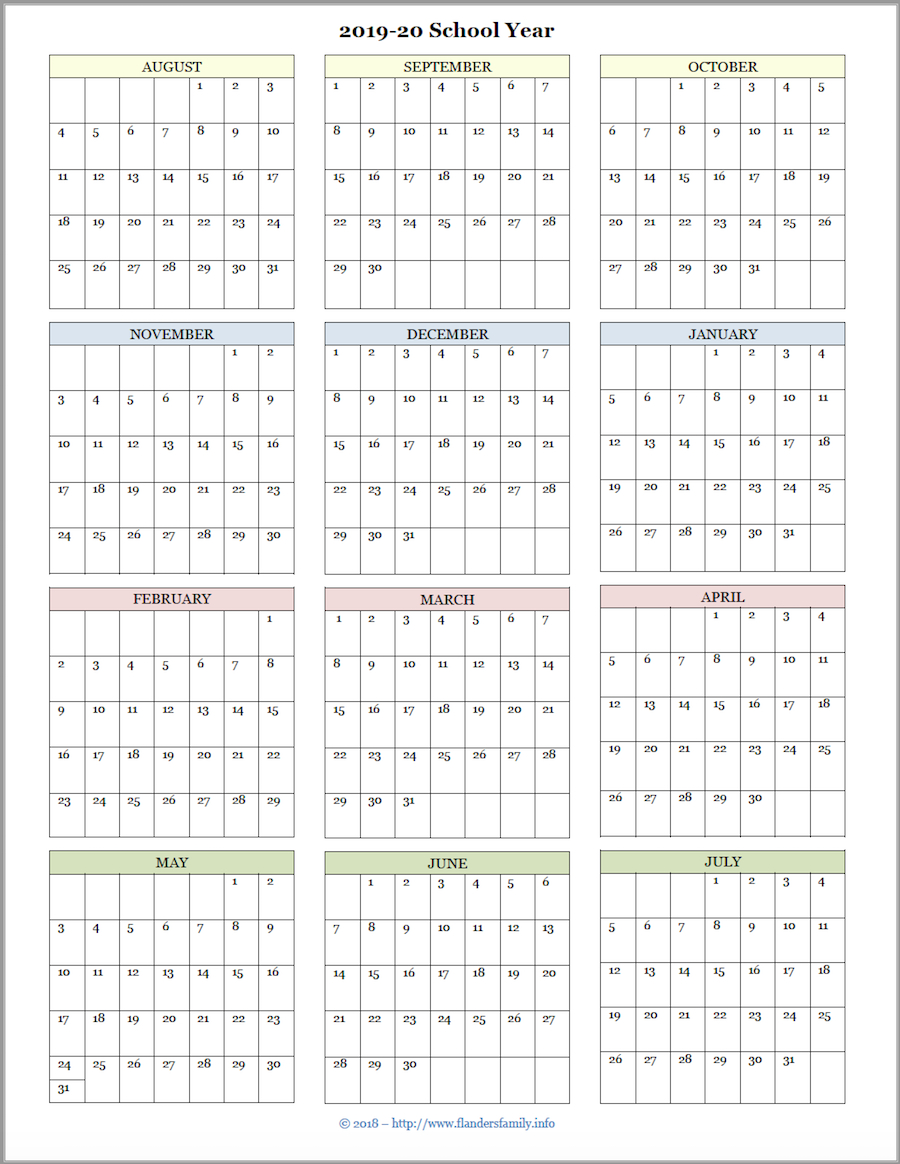 Free Printable Attendance Record & Academic Calendar