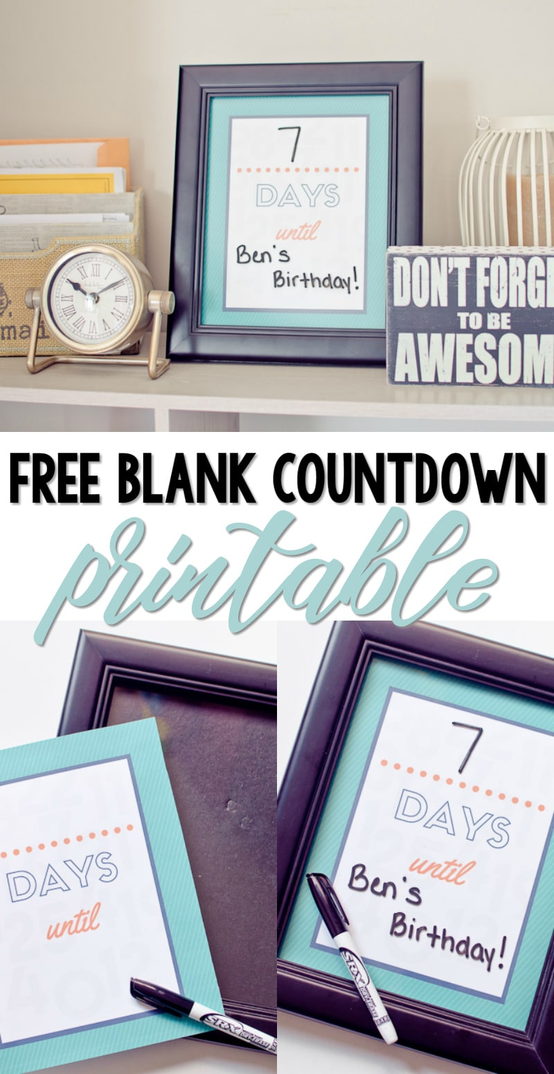 Free Printable Blank Countdown - A Grande Life