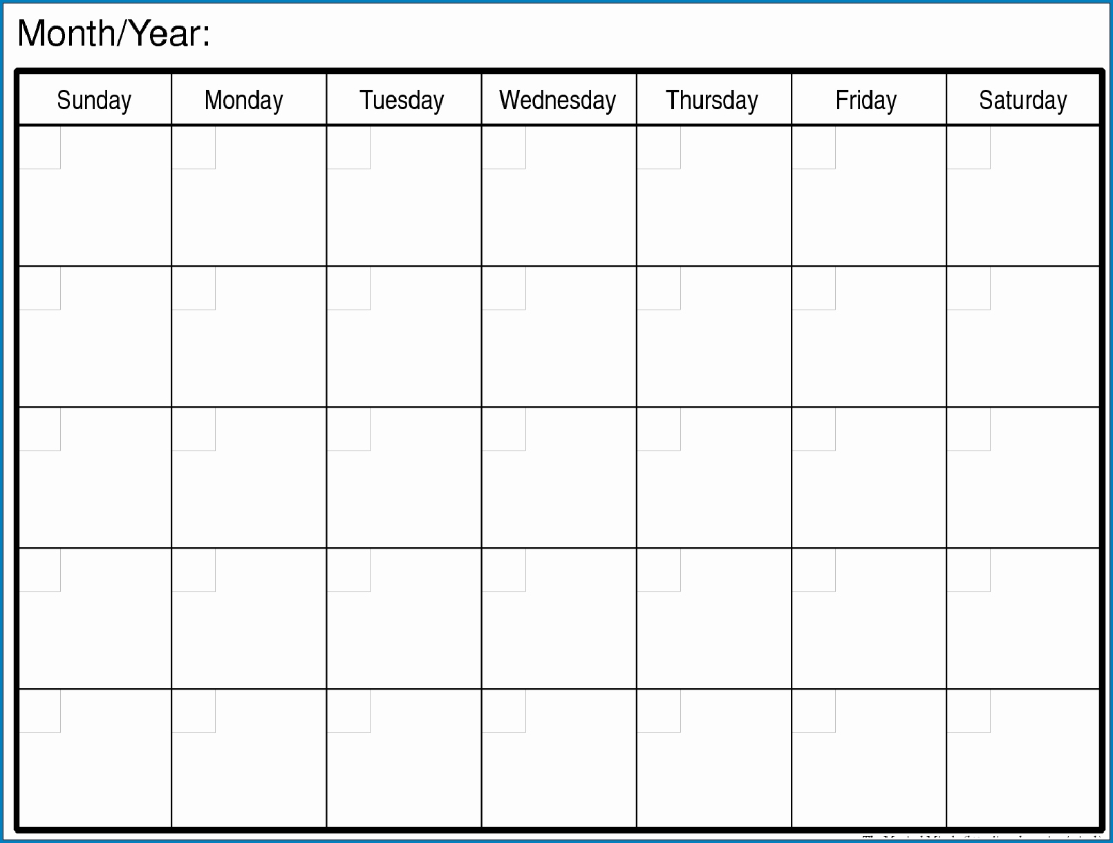 Free Printable Blank Monthly Calendar Templates | Monthly