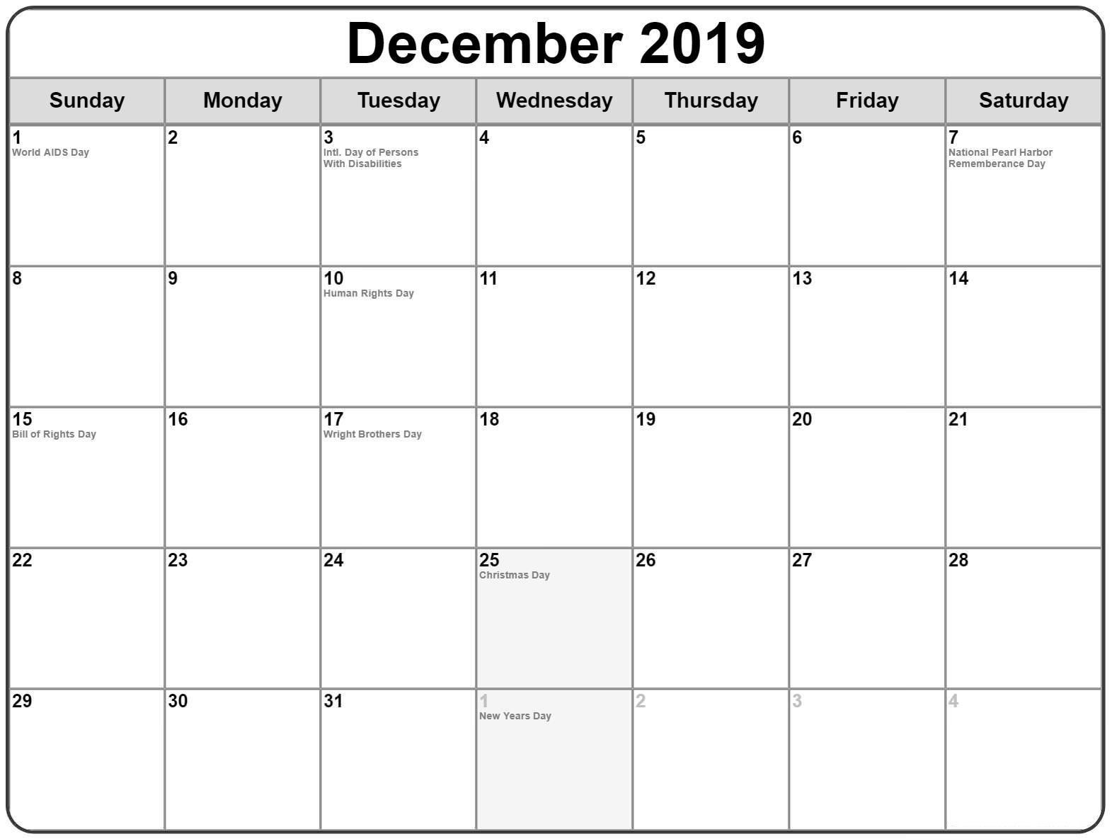 Free Printable December Holidays 2019 Calendar Usa Uk Canada