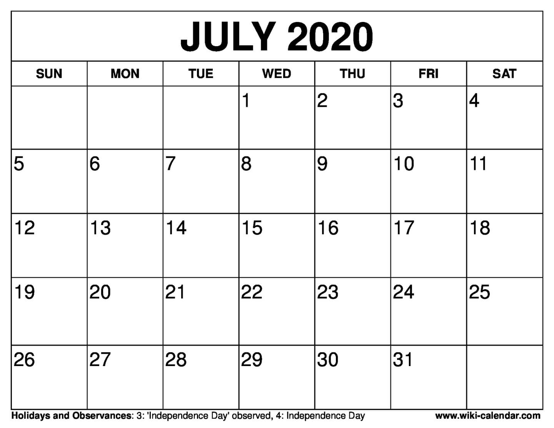 Free Printable July 2020 Calendar-Blank Calendar June-July