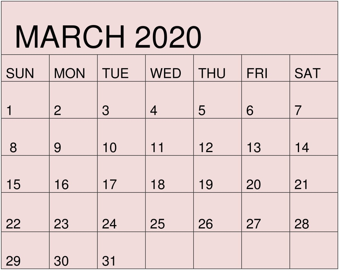 Free Printable March 2020 Calendarmonth Template – Free
