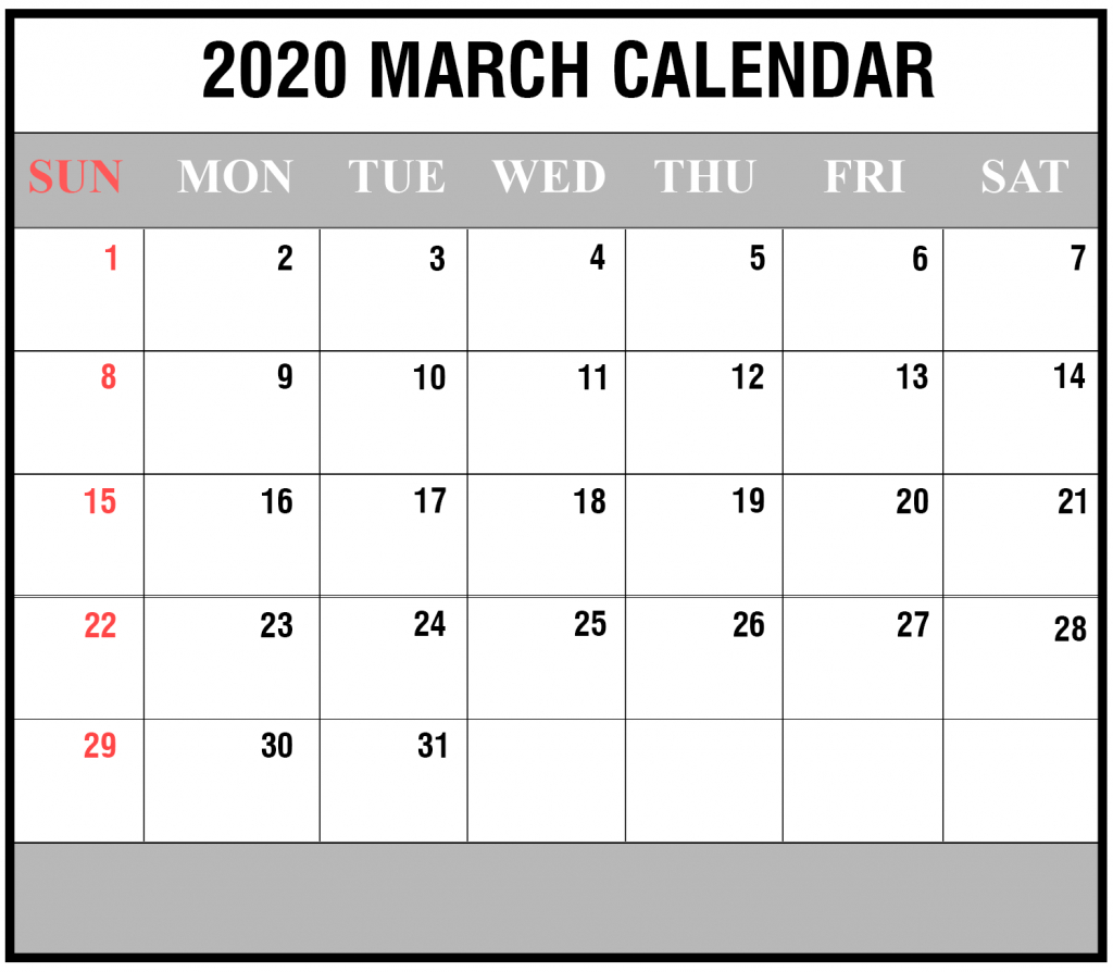 Free Printable March Calendar 2020 Template In Pdf Word Excel