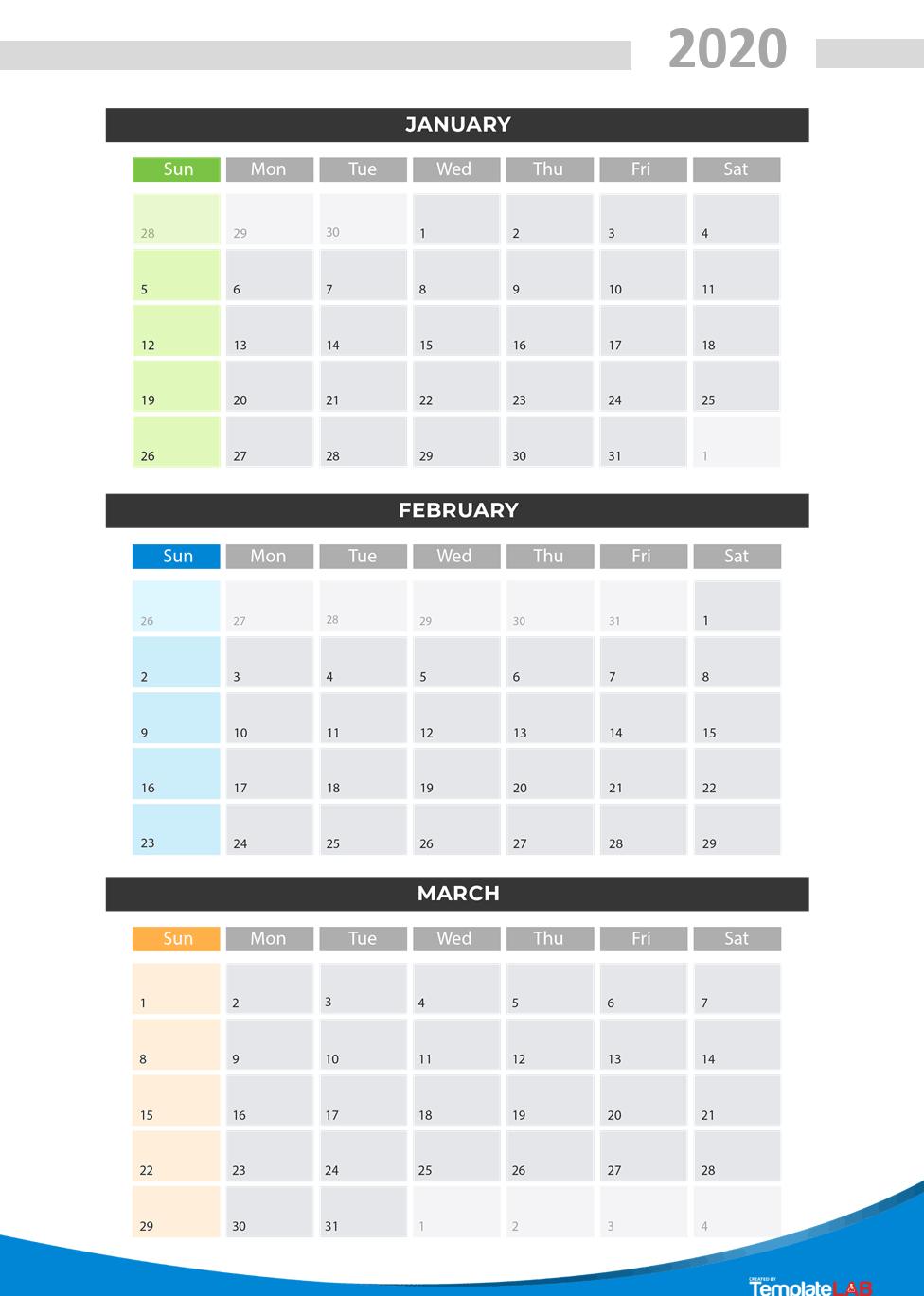 Free Printable Quarterly Calendar 2020 - Colona.rsd7