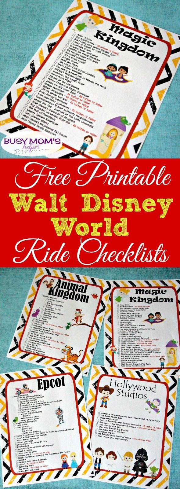 Free Printable Walt Disney World Ride Checklists   Walt