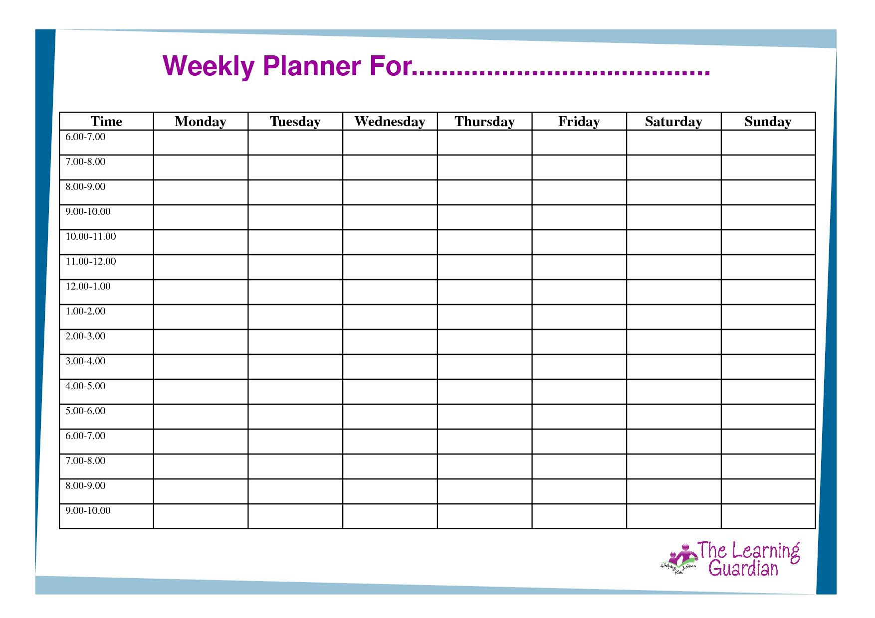 Free Printable Weekly Calendar Templates   Weekly Planner