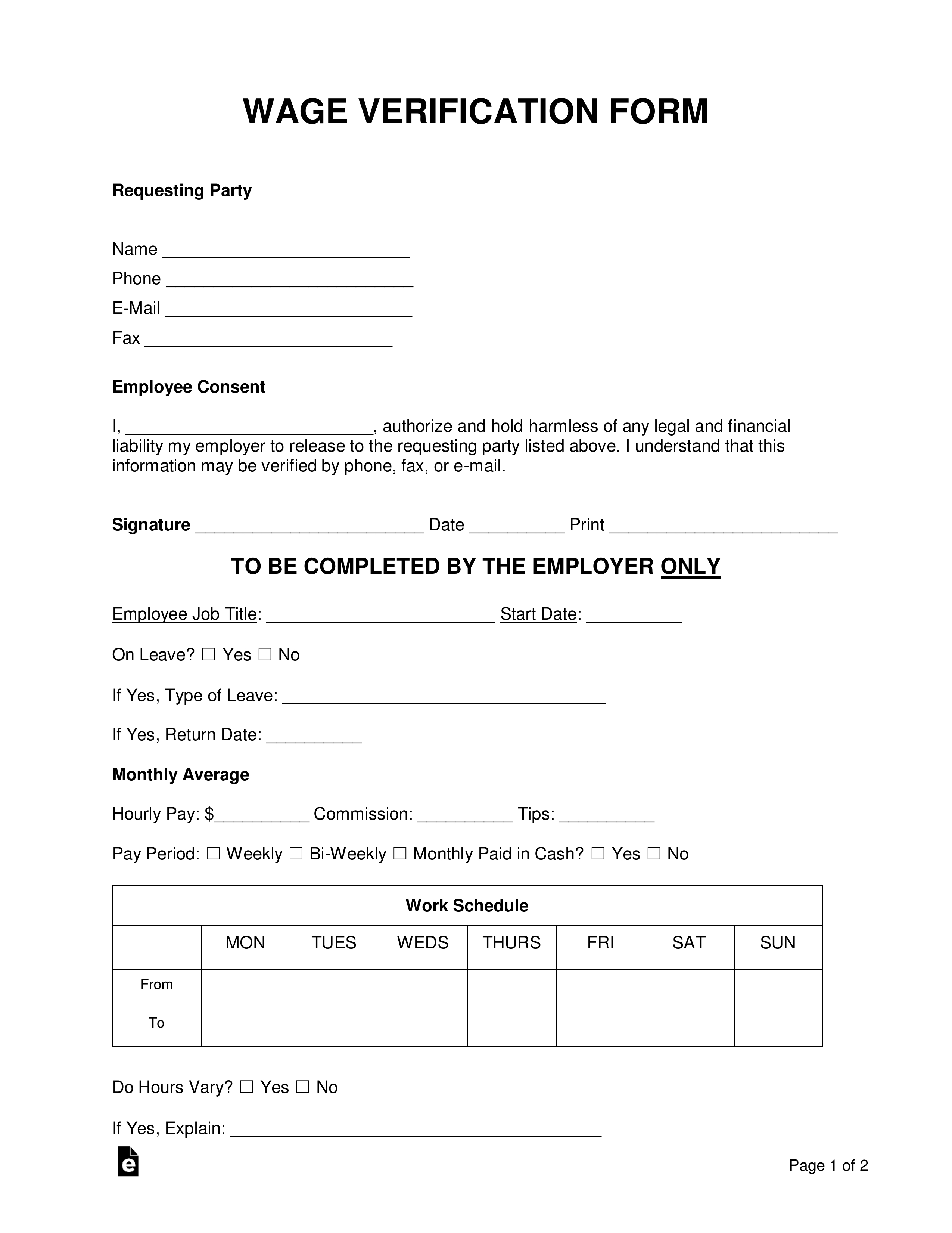 Free Wage Verification Form - Pdf | Word | Eforms – Free