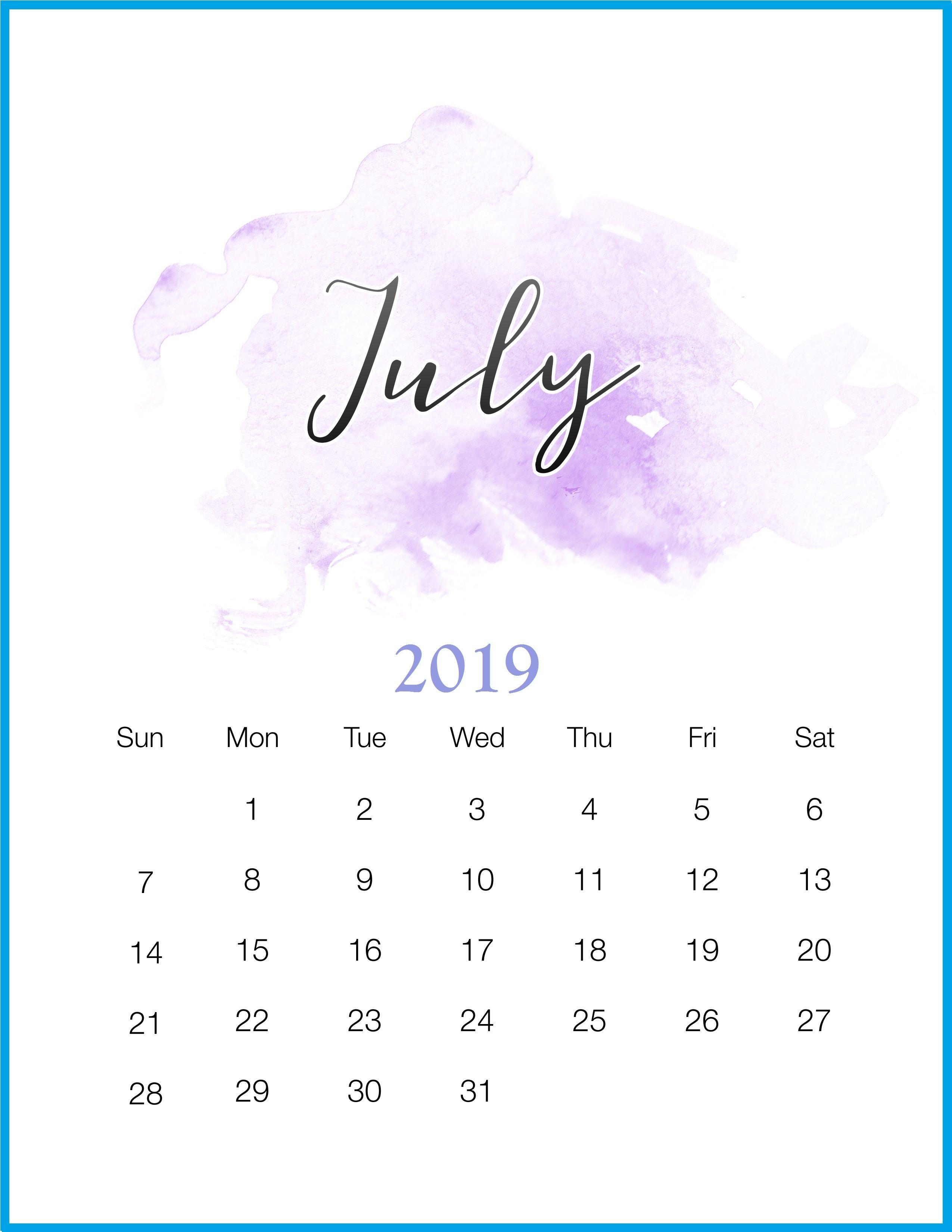 Get Free July 2019 Calendar Template Decemberjuly 2019