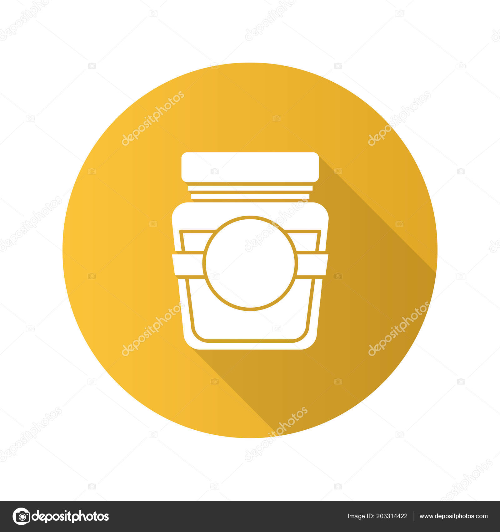 Glass Jar Blank Label Flat Design Long Shadow Glyph Icon