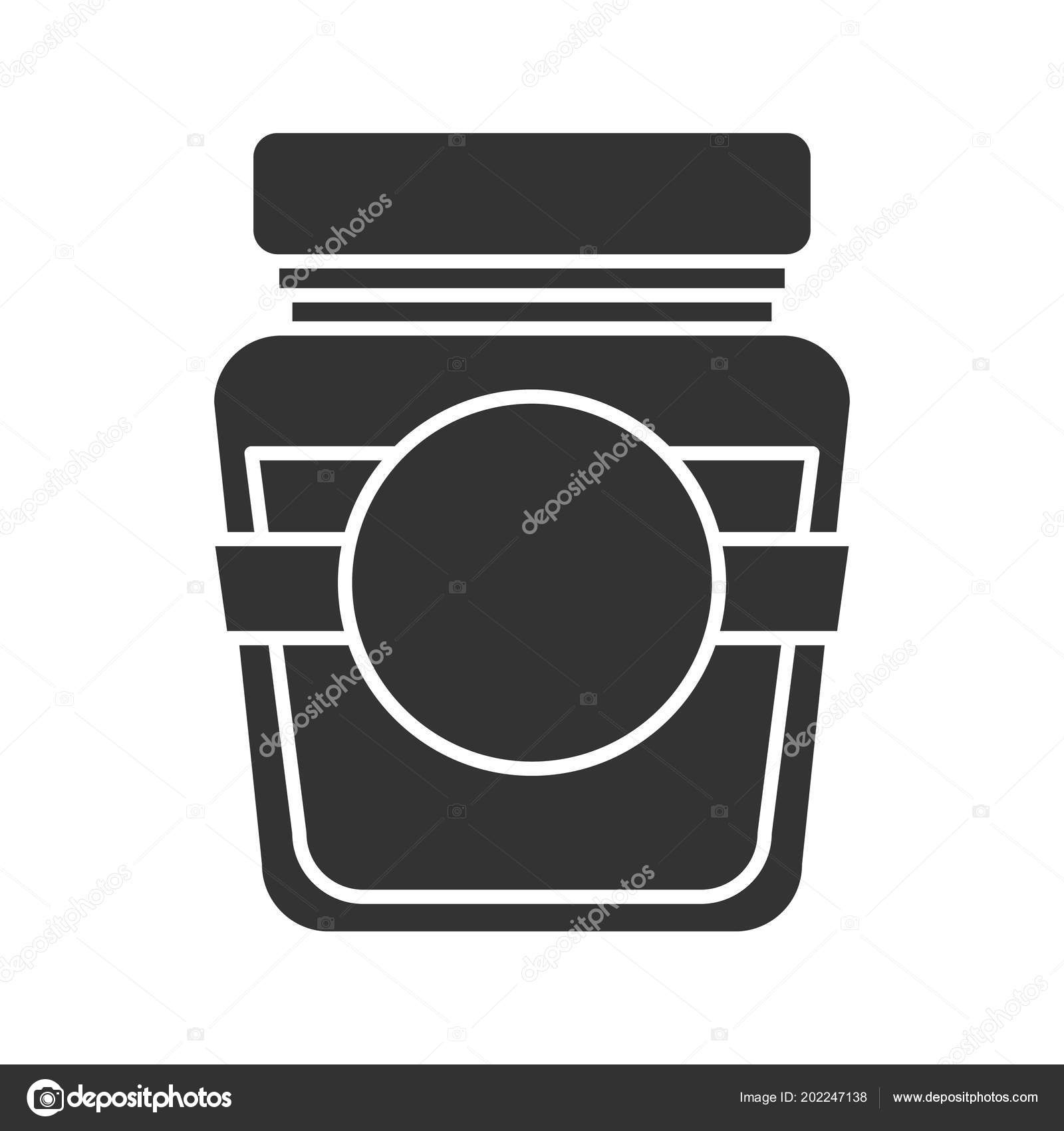 Glass Jar Blank Label Glyph Icon Silhouette Symbol Negative