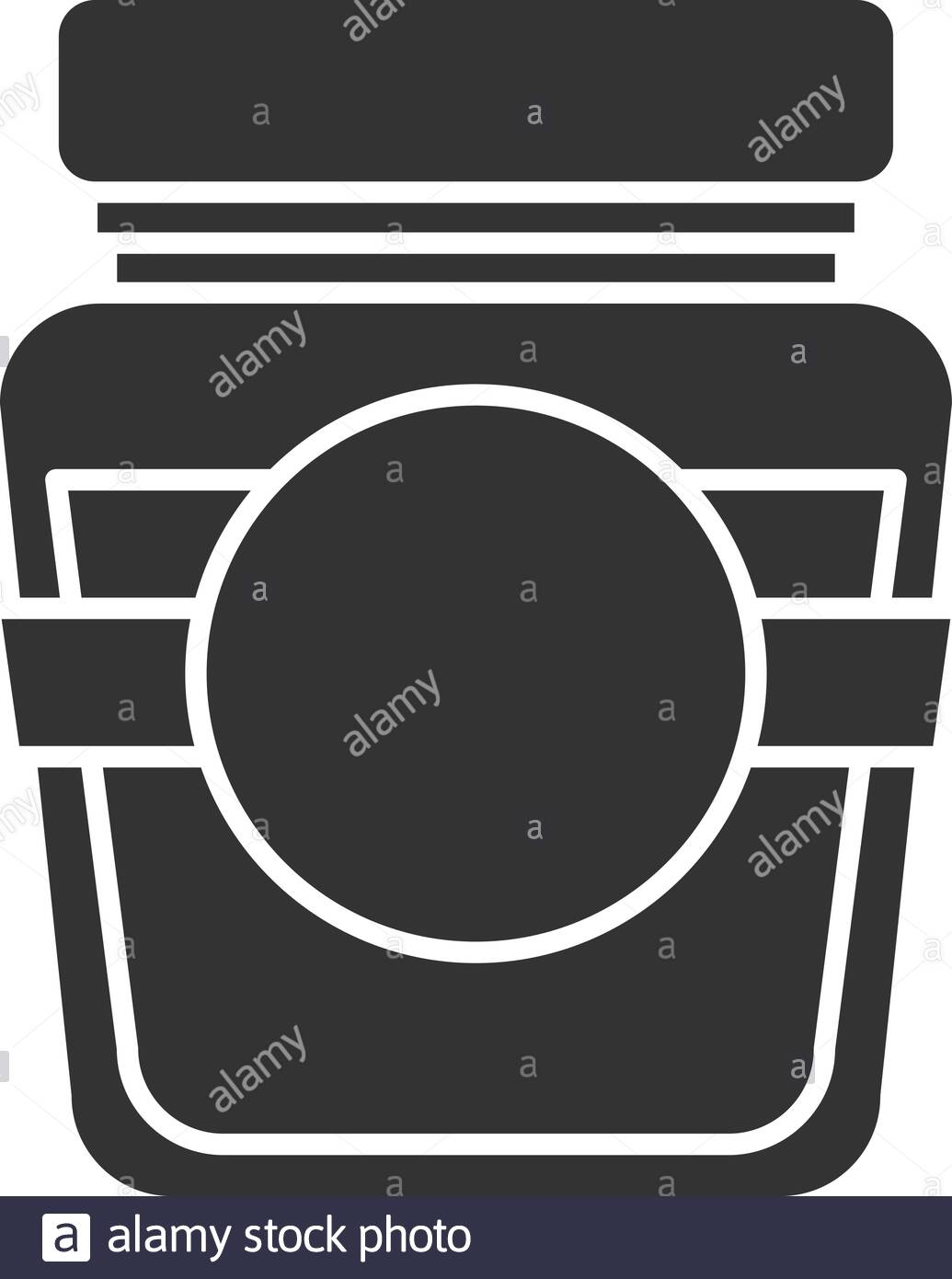 Glass Jar With Blank Label Glyph Icon. Silhouette Symbol