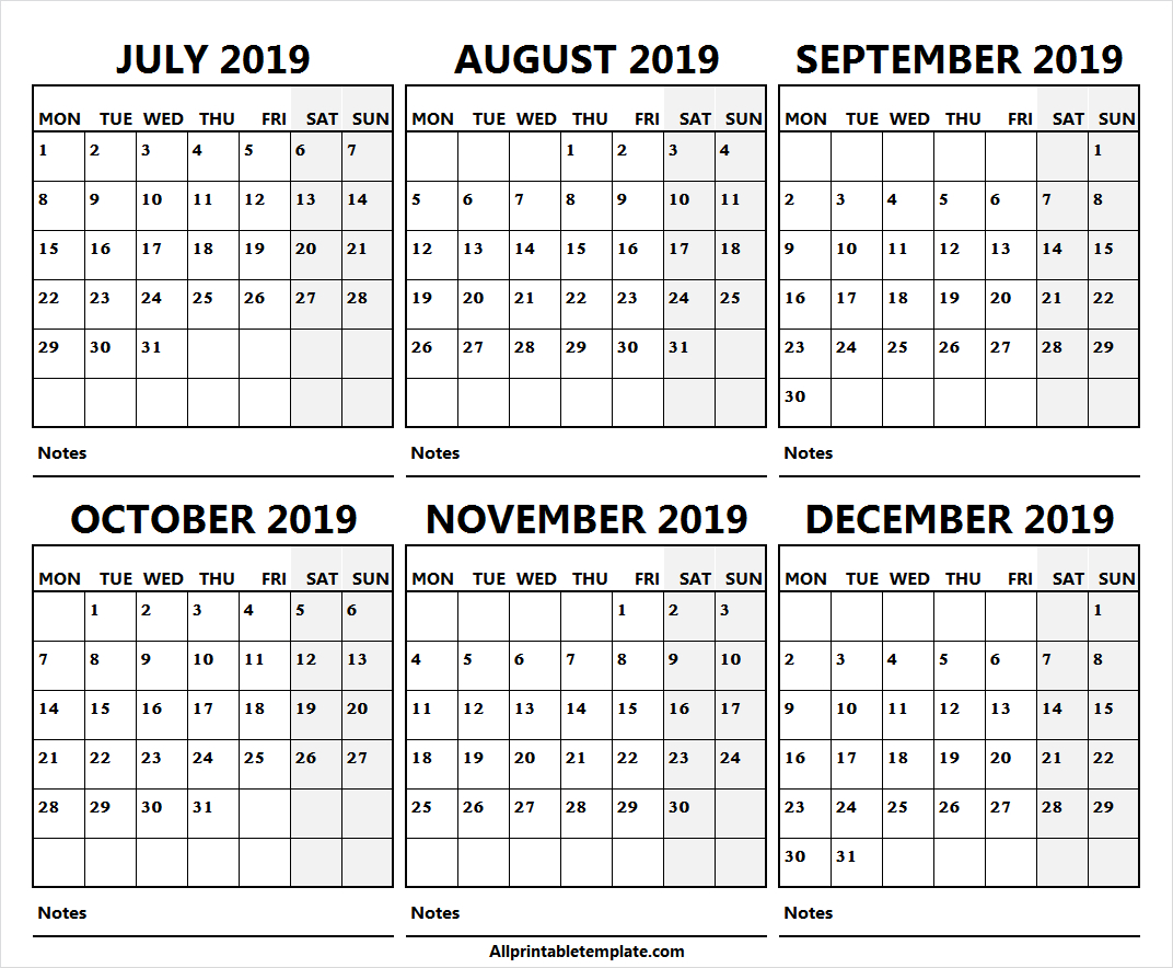 Half Year July December 2019 Calendar Free | Online Calendar