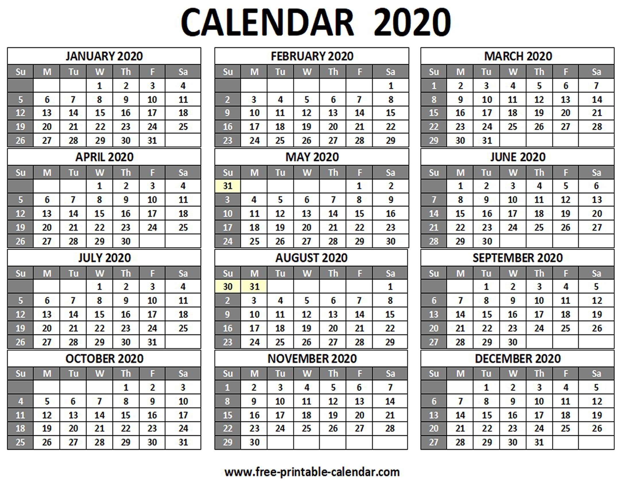 Hong Kong 2020 Monthly Calendar Templates | Monthly