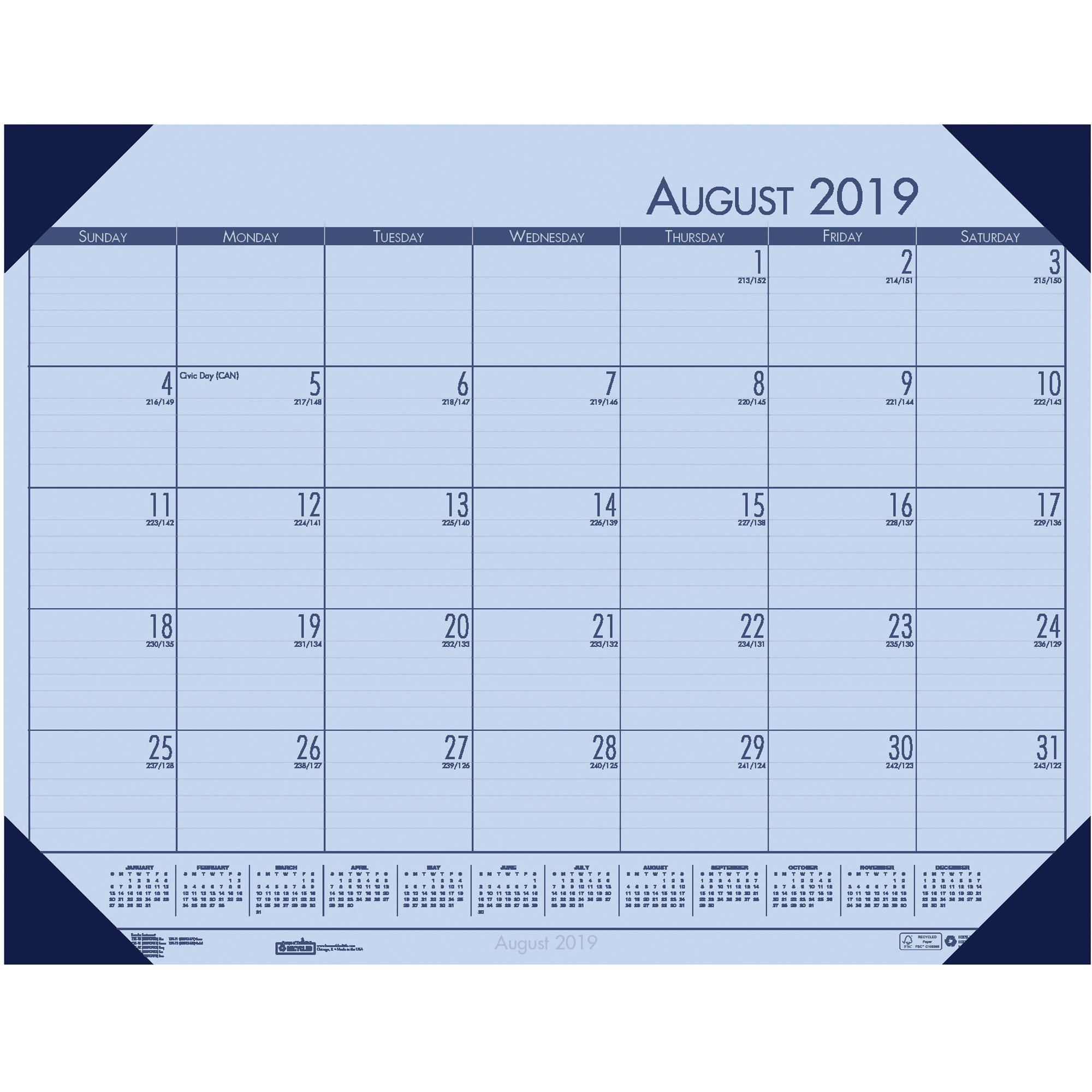 House Of Doolittle Compact Academic Desk Pad - Academic - Daily, Weekly,  Monthly, Yearly - 1 Year - August 2019 Till July 2020 - 1 Month Single Page