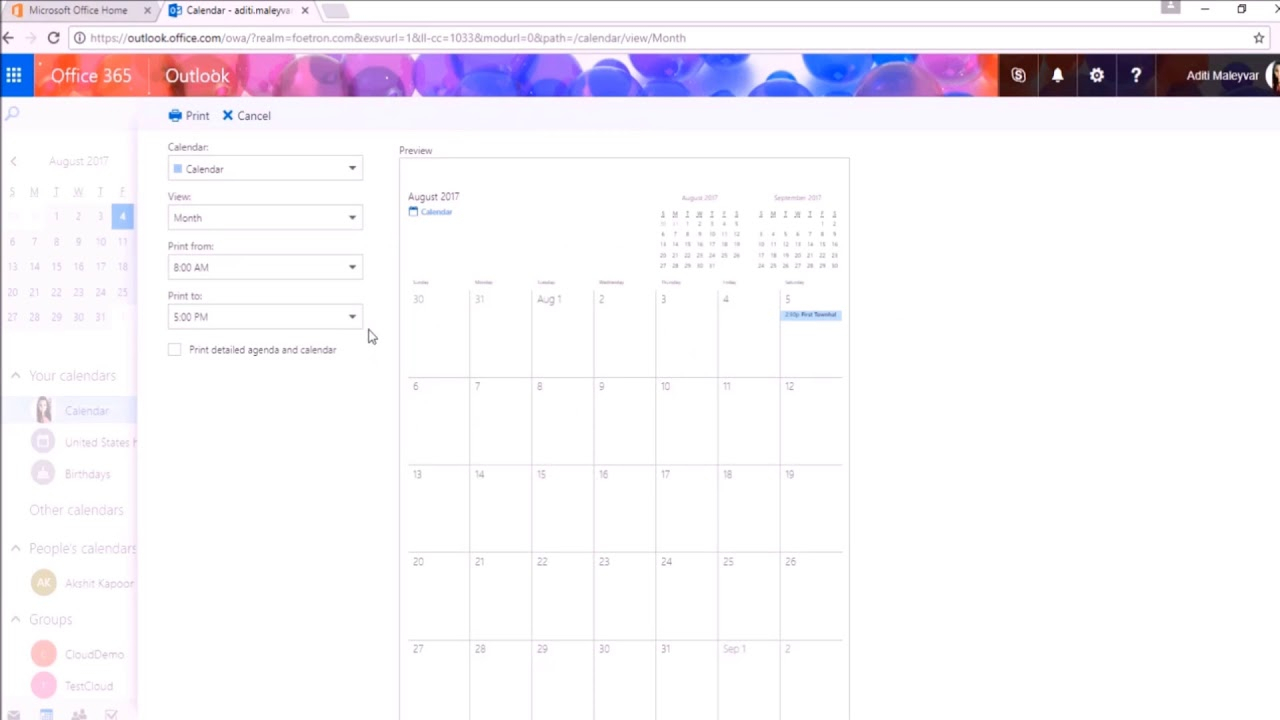 How To Print A Calendar In Outlook Web Access(Owa) ?