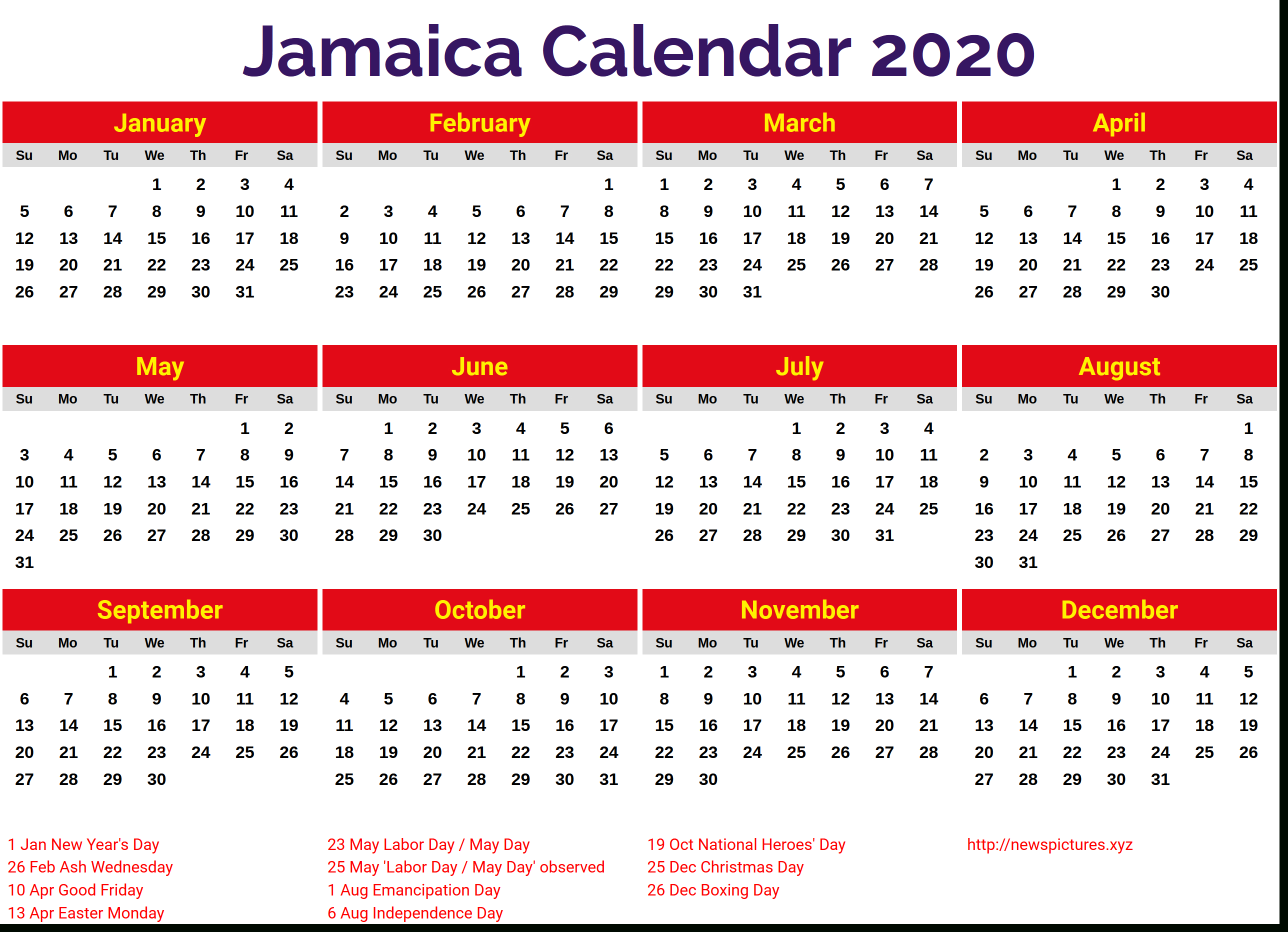 Image For Jamaica 2020 Calendar | August Calendar, 2019