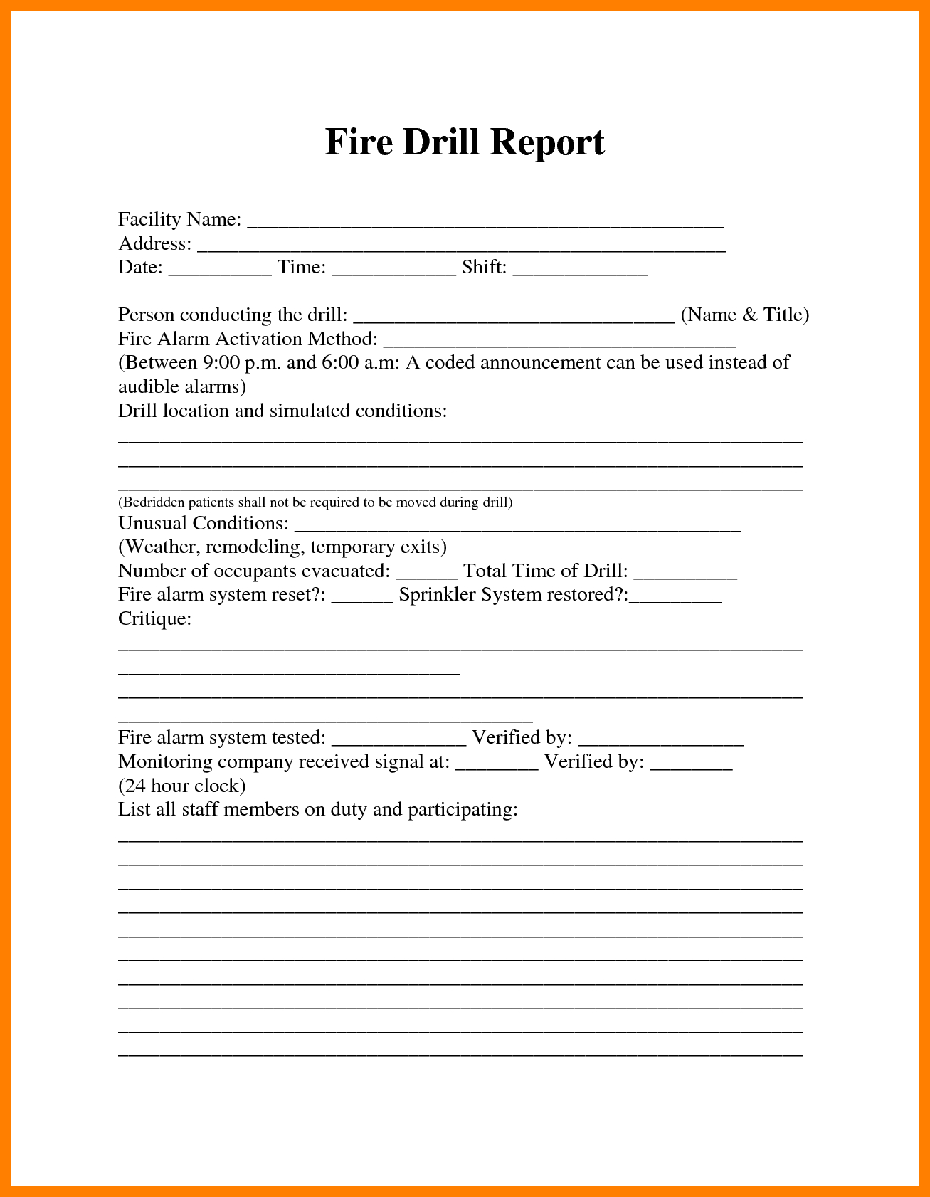 Image Result For Fire Drill Procedures For Summer Camp