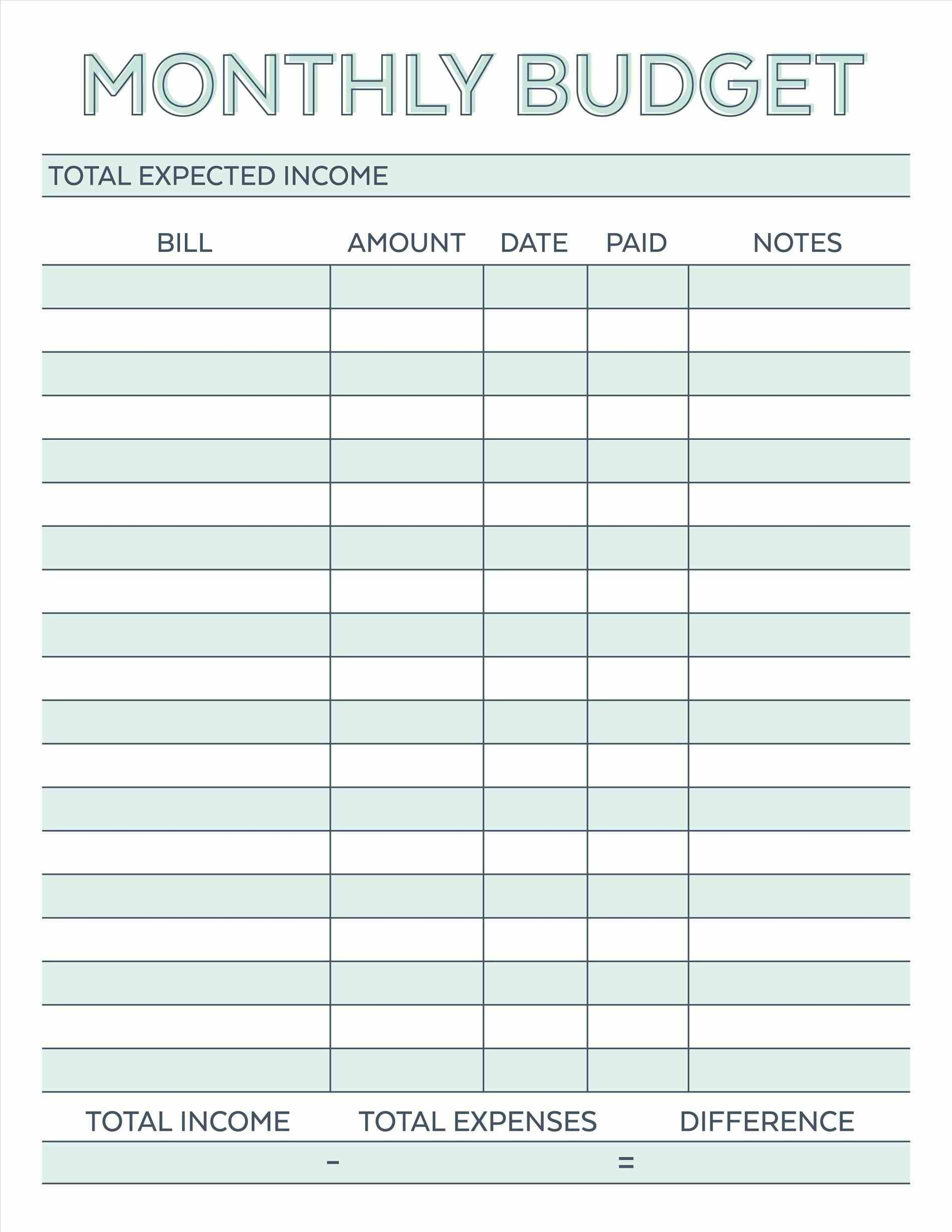 Image Result For Free Monthly Budget Template | Budget