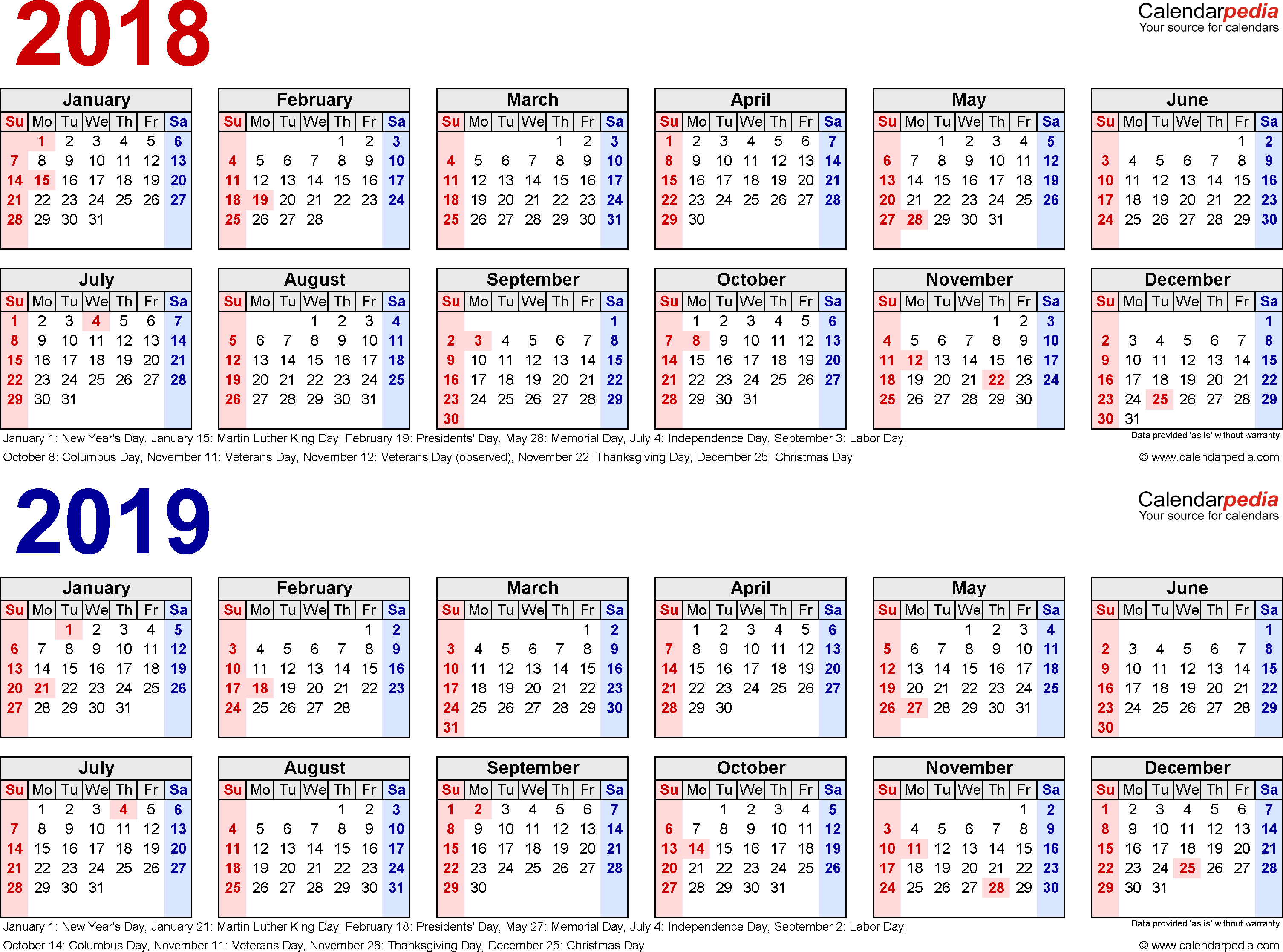Image Result For Free Printable 2018 /2019 Calendar