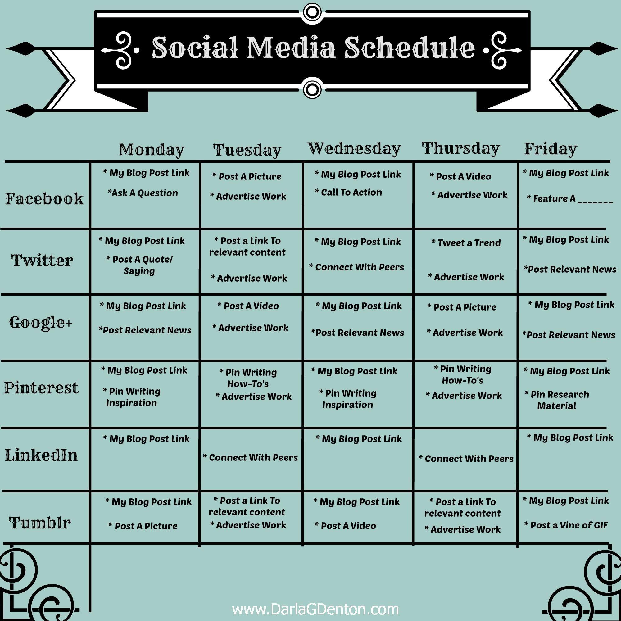 Image Result For Social Media Post Schedule | Social Media