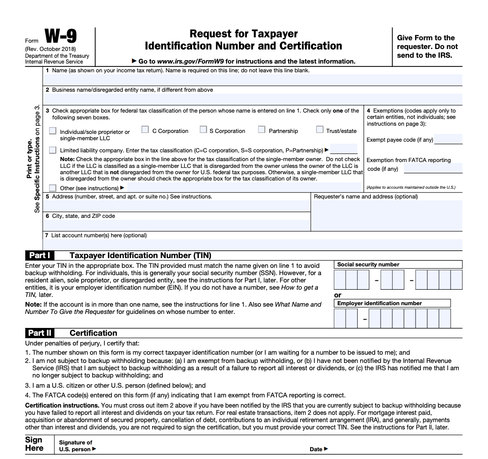 Irs Form W-9 | Zipbooks