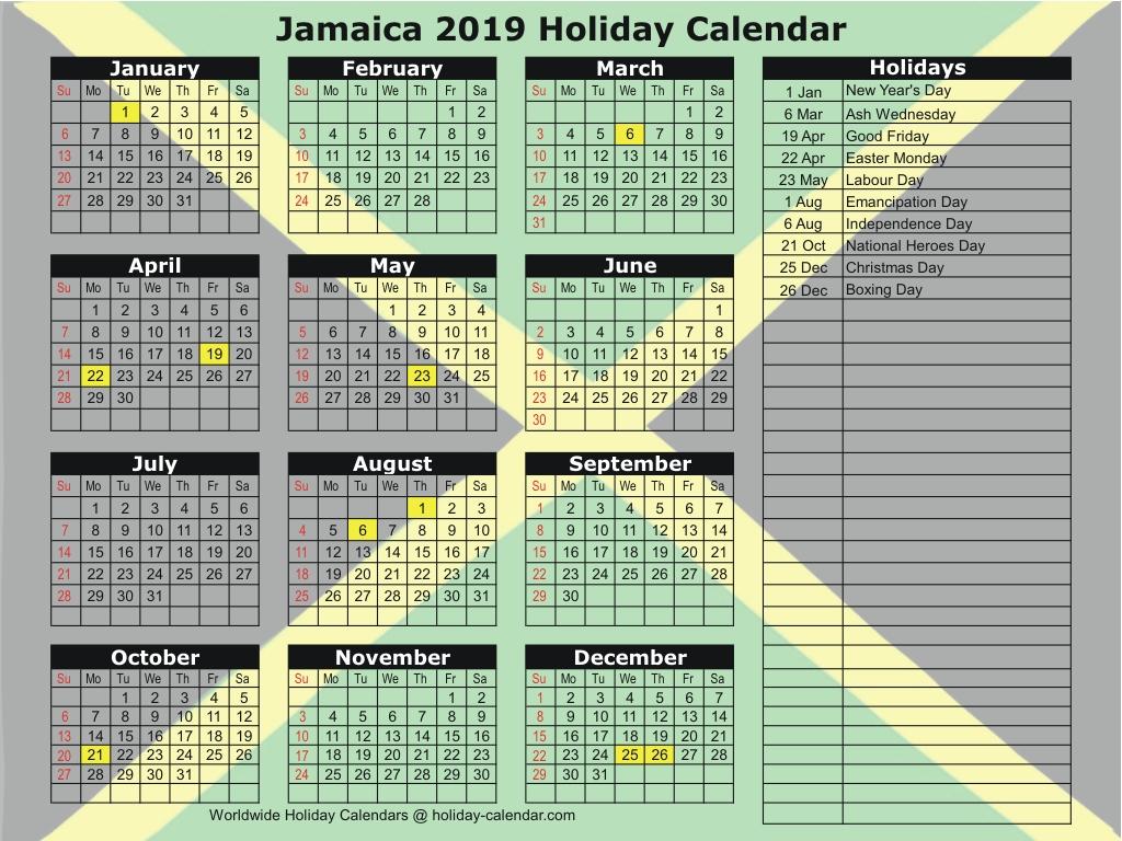 Jamaica 2019 / 2020 Holiday Calendar