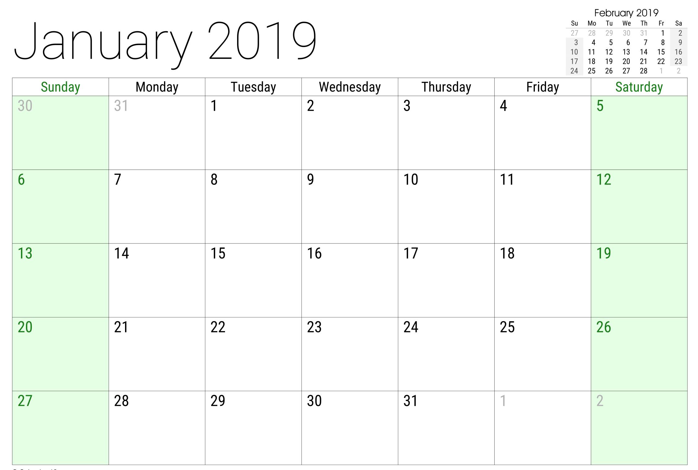 January 2019 Google Sheet Calendar | 2019 Calendar, Calendar