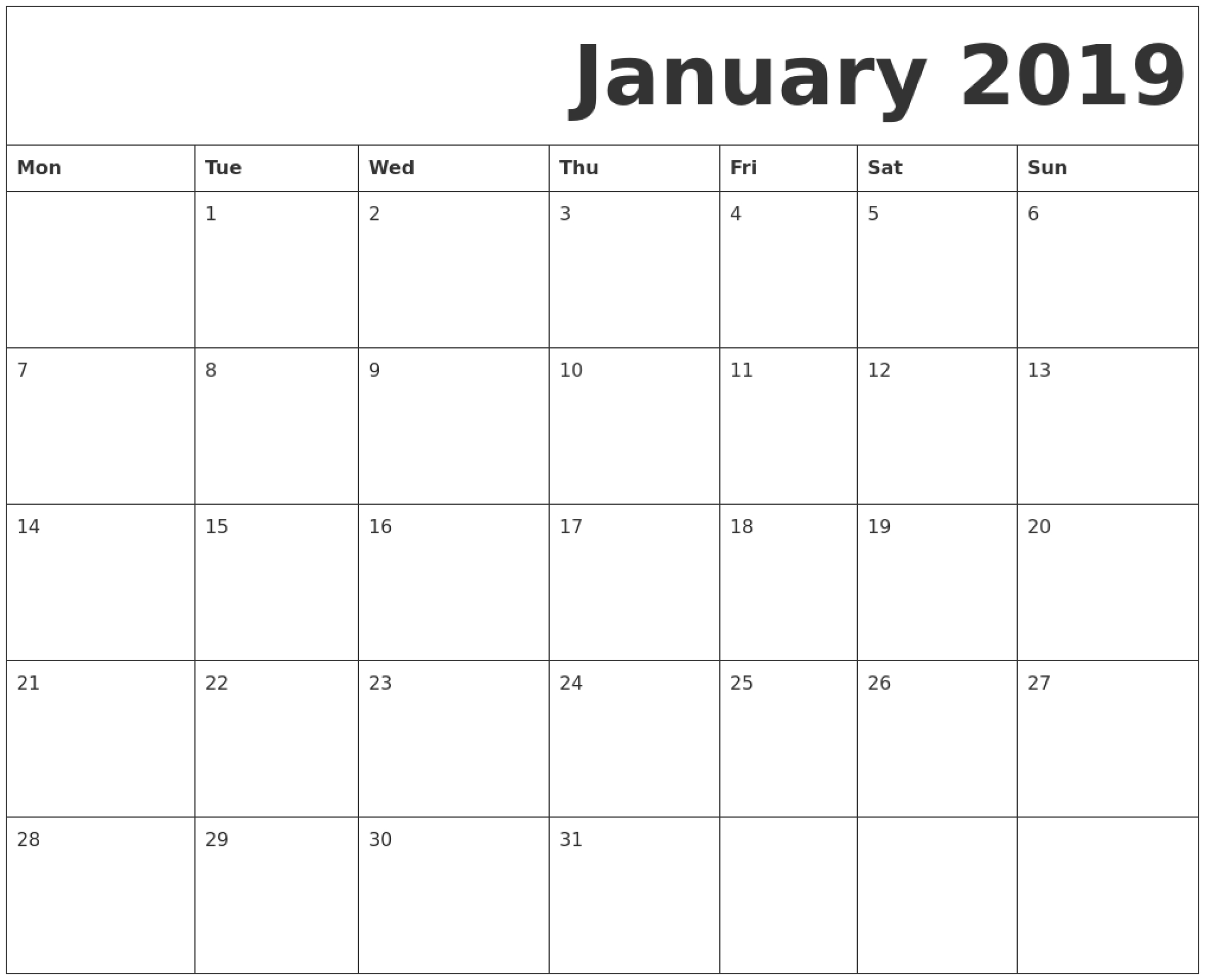 January 2019 Printable Calendar Monday Start.   June