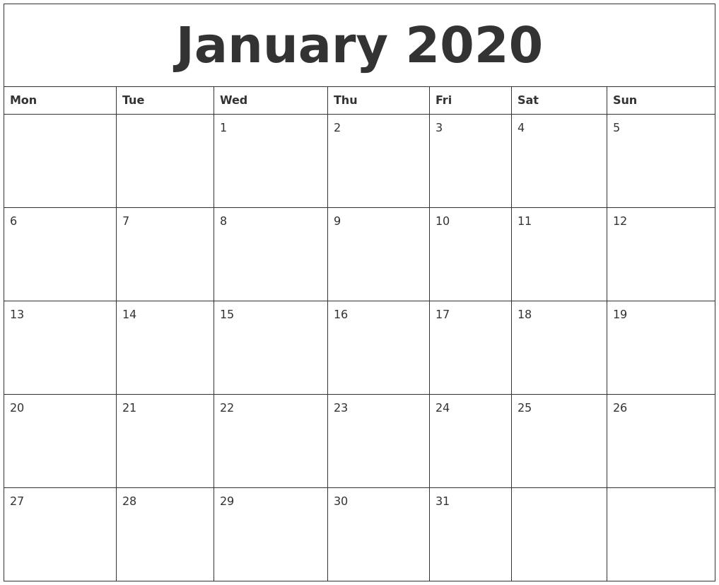 January 2020 Editable Calendar Template-Microsoft Word