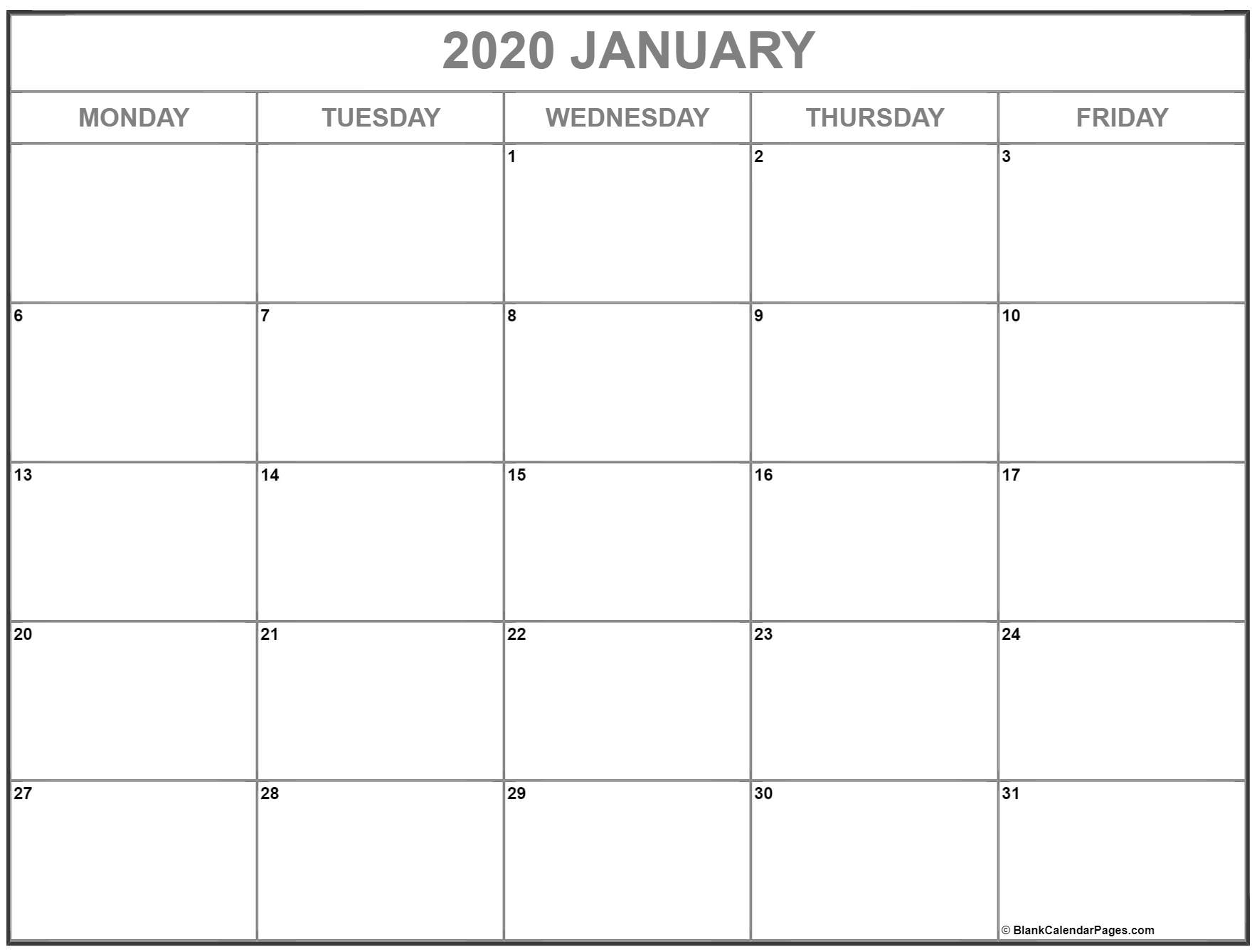 January 2020 Monday Calendar | Monday To Sunday